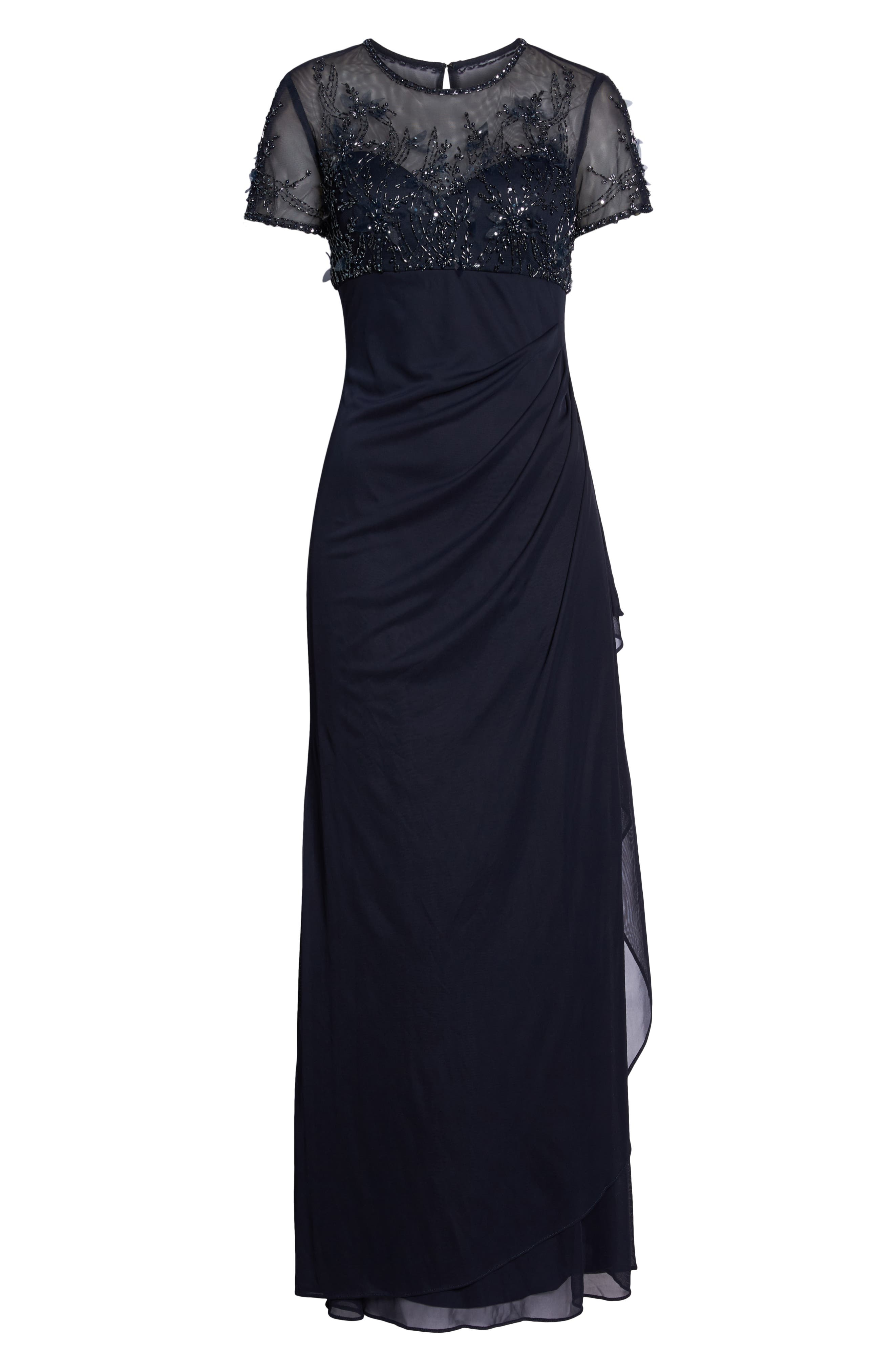 Side Ruched Beaded Gown,                             Alternate thumbnail 7, color,                             NAVY