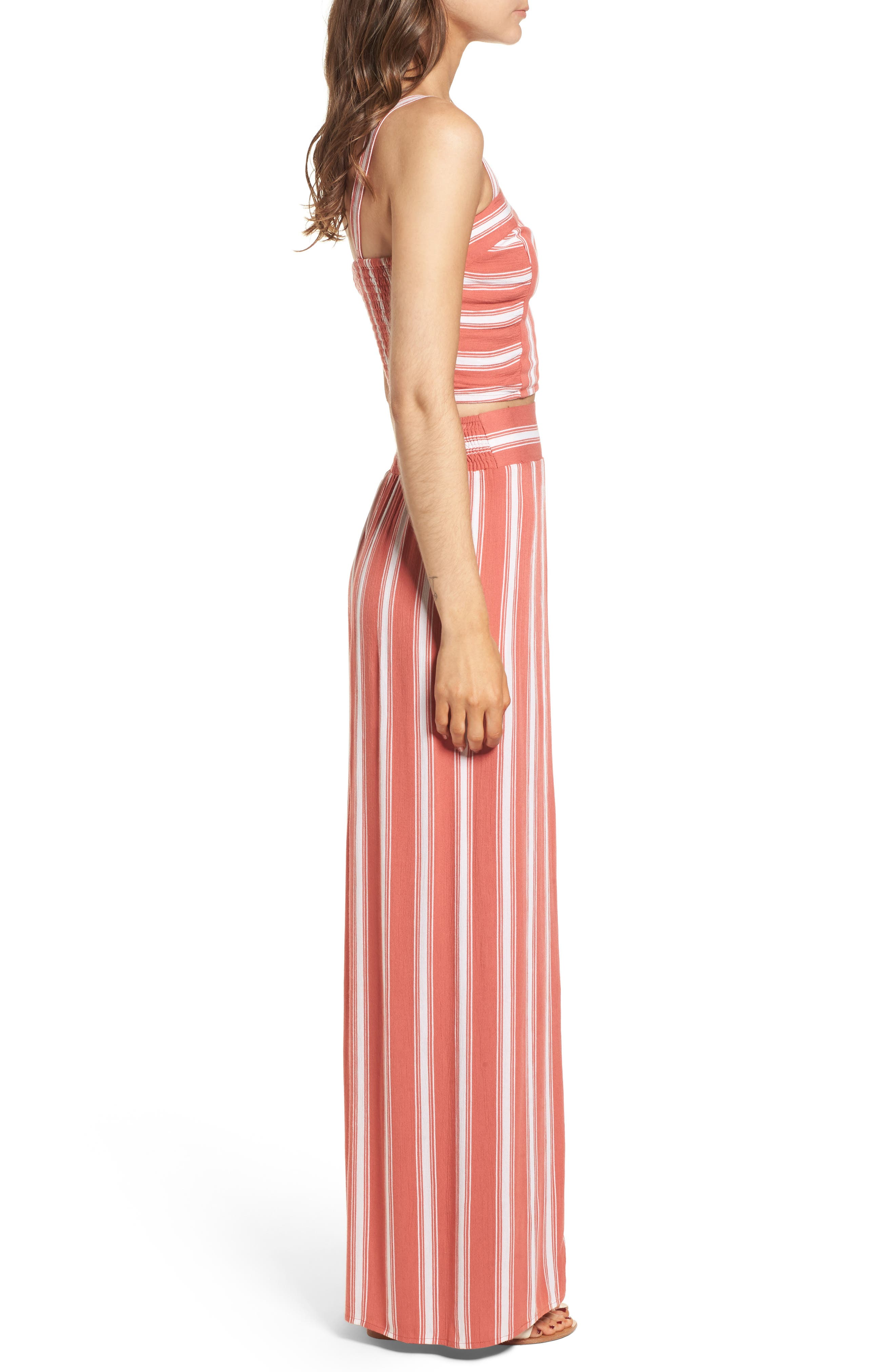 Stripe Smocked Crop Top,                             Alternate thumbnail 9, color,                             DUSTY CORAL/ IVORY