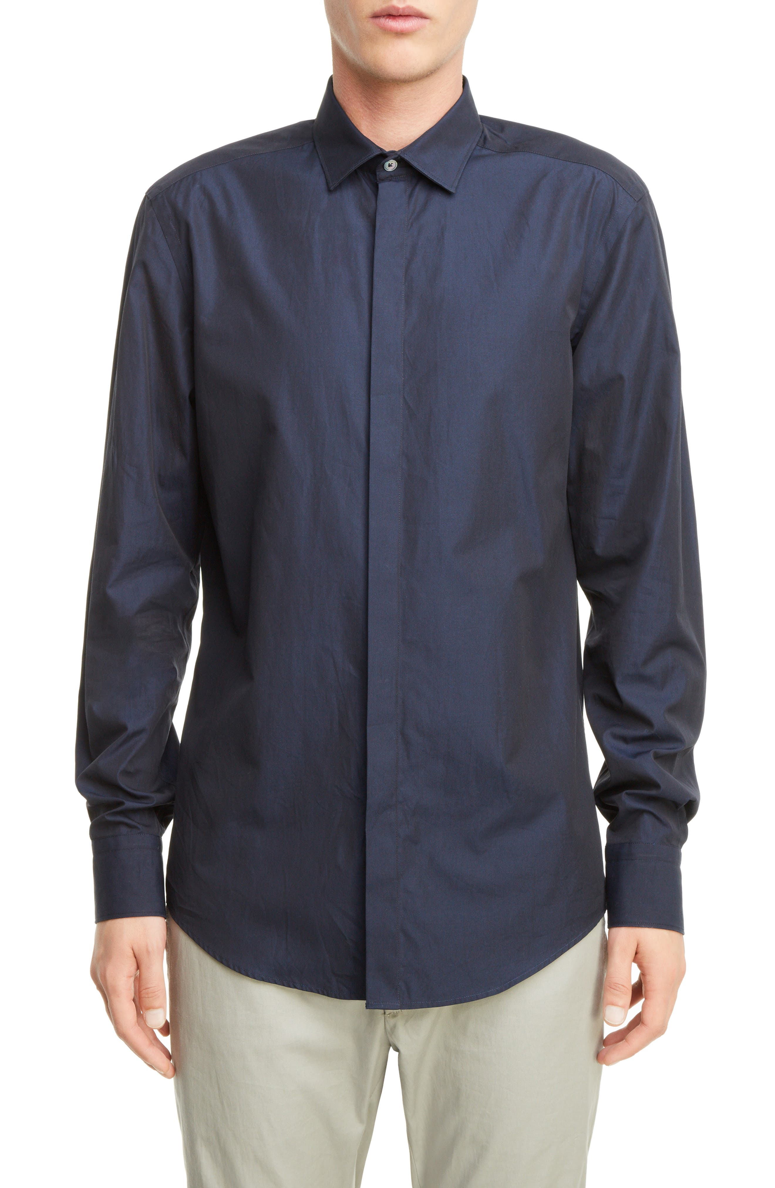 Covered Placket Sport Shirt,                         Main,                         color, NAVY