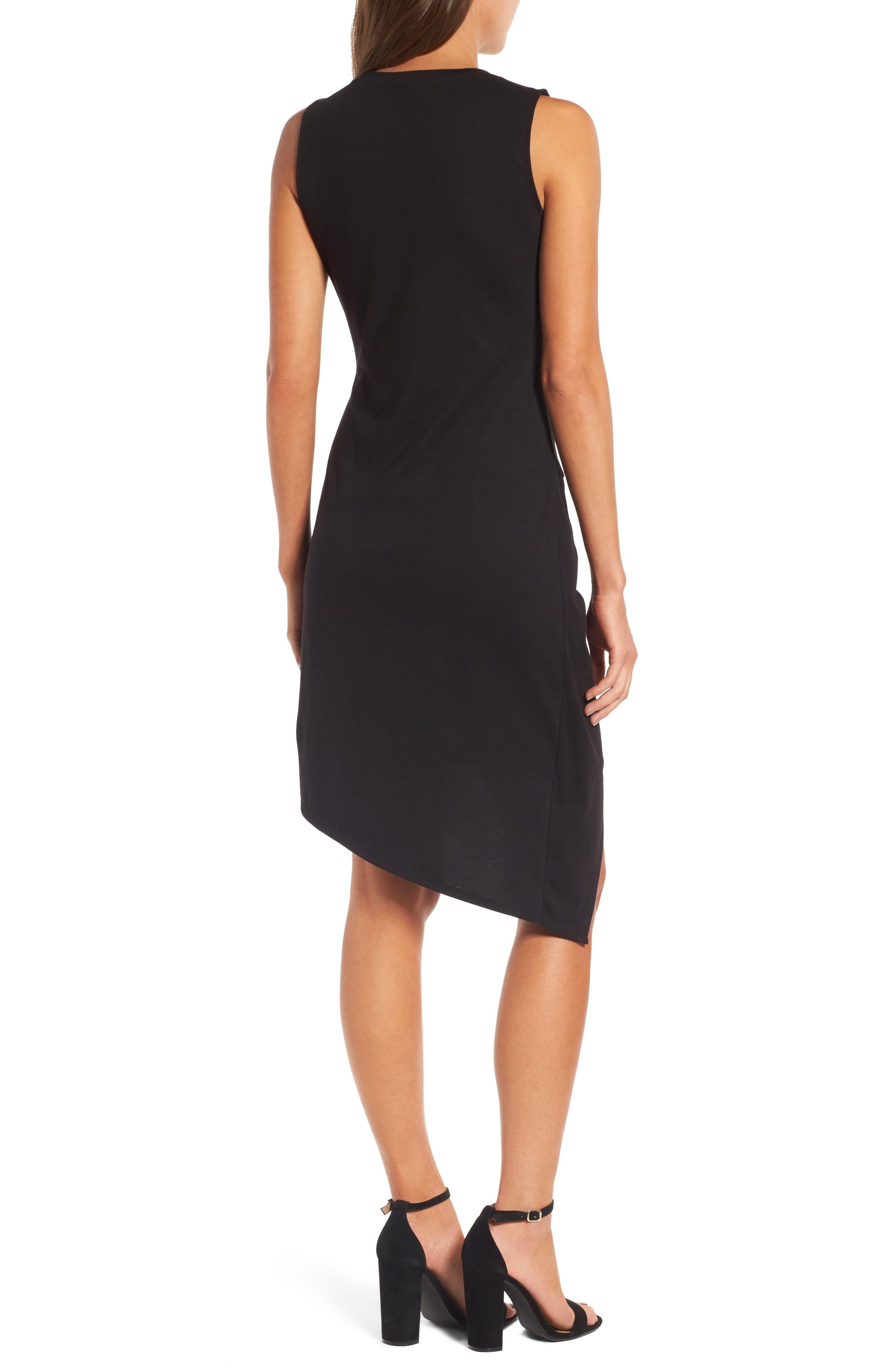 Twist Front Dress,                             Alternate thumbnail 2, color,                             BLACK