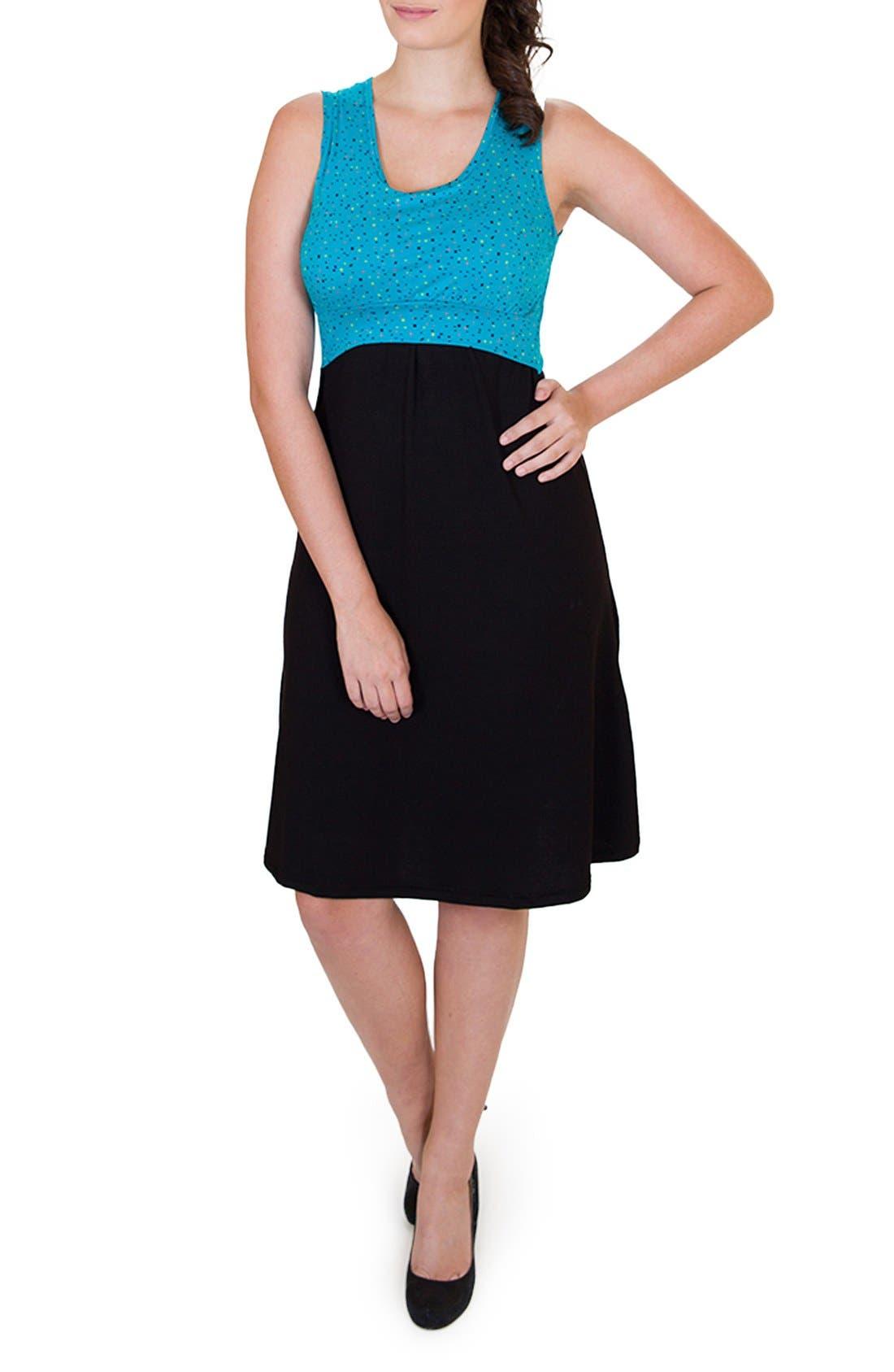 'Ana' Maternity/Nursing Dress,                             Main thumbnail 1, color,                             DOTS TOP W/ BLACK SKIRT
