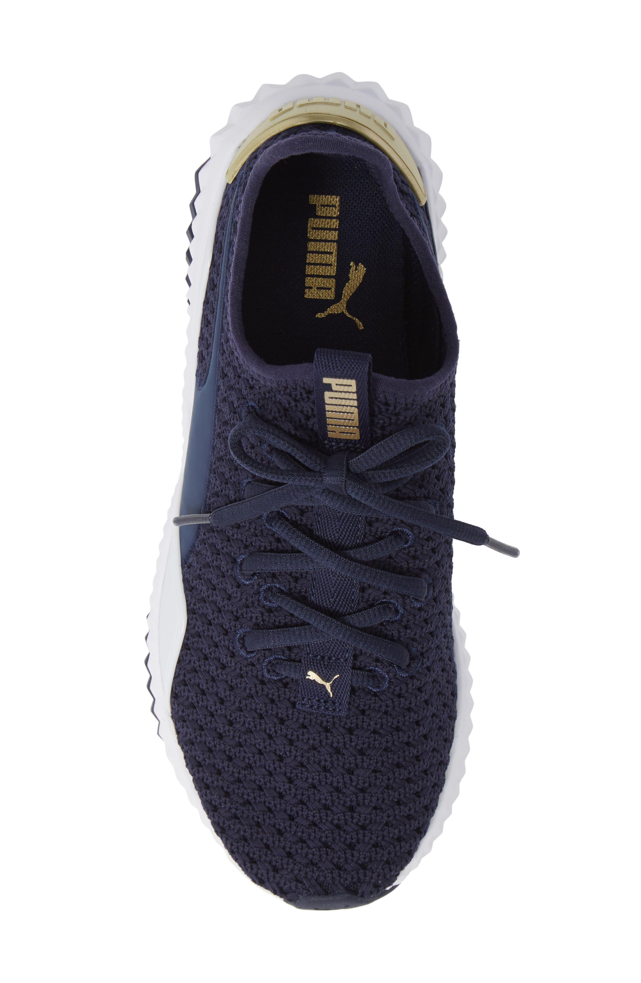 Defy Varsity Sneaker,                             Alternate thumbnail 5, color,                             BLUE/ METALLIC GOLD