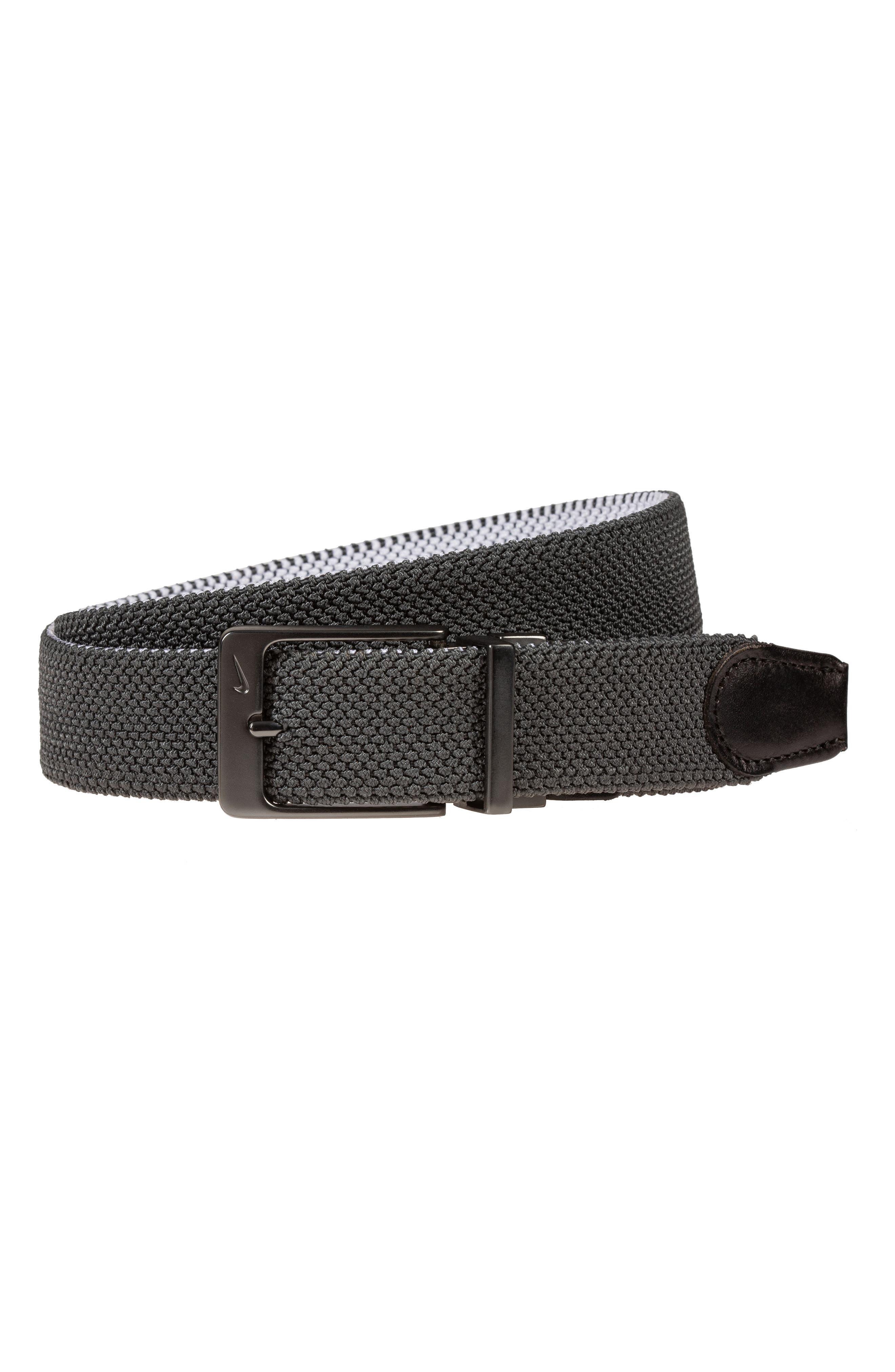 Nike Reversible G-Flex Woven Belt, Dark Grey
