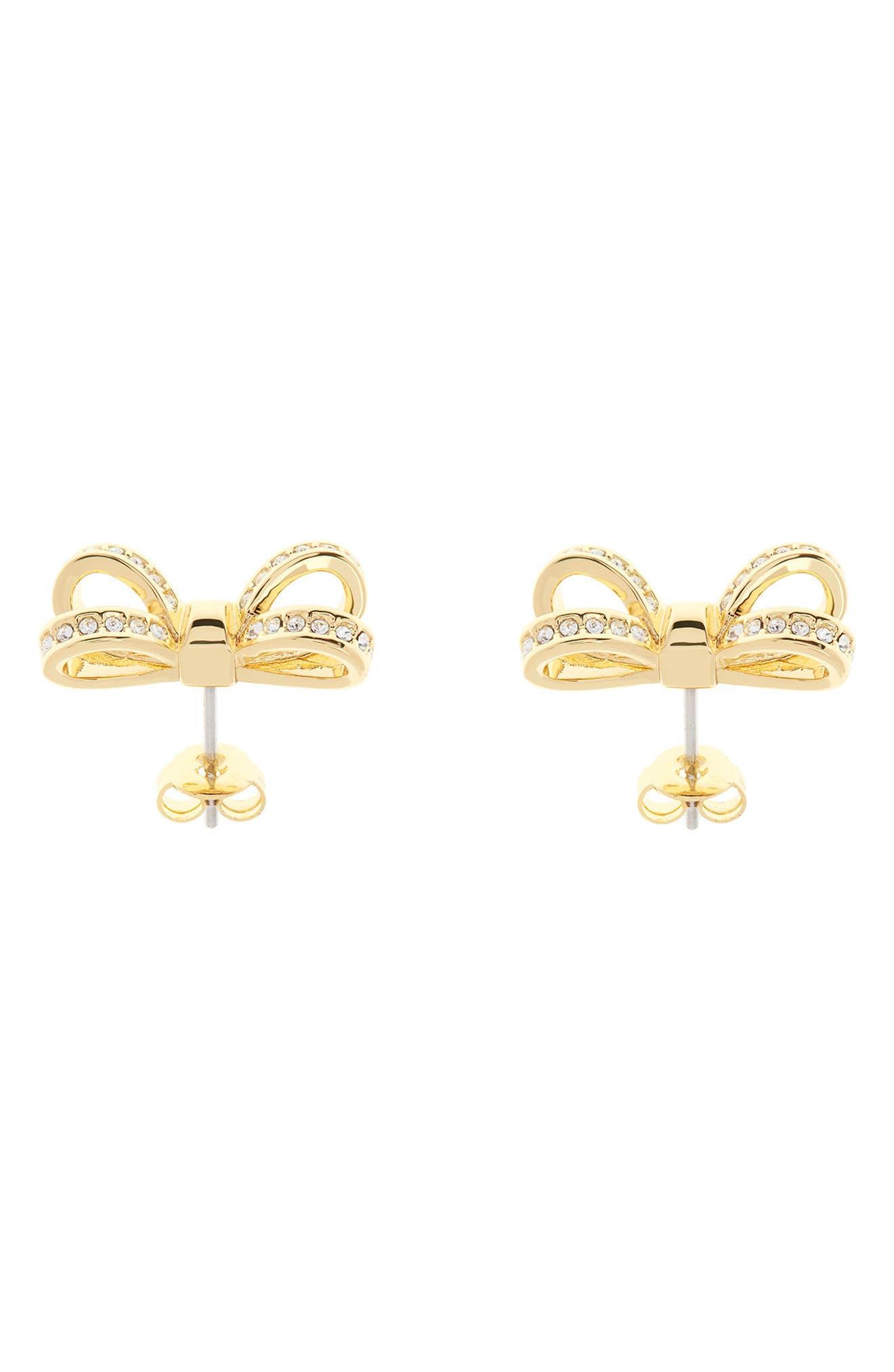 Mini Opulent Pavé Bow Stud Earrings,                             Alternate thumbnail 6, color,
