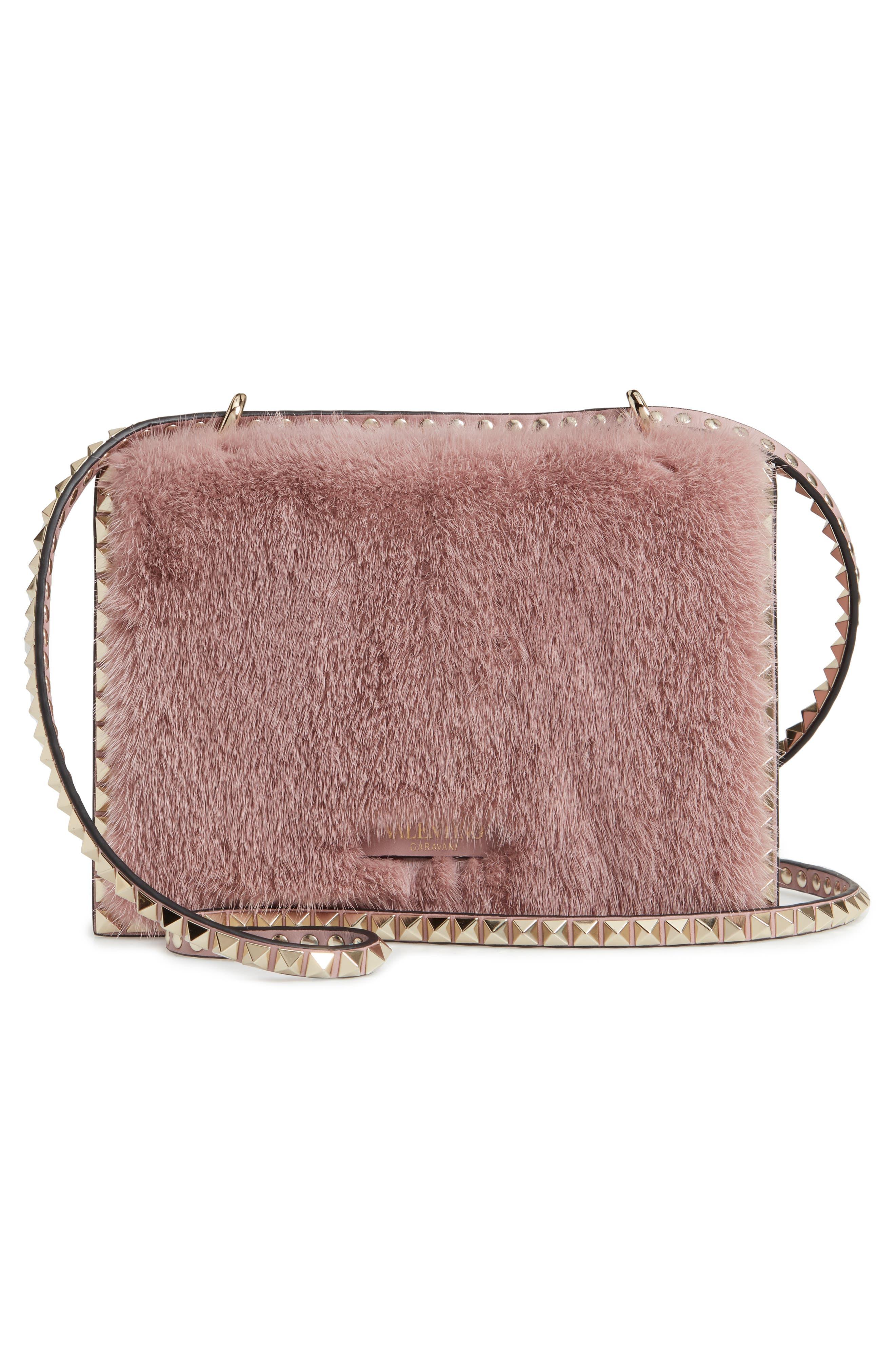 Small Rockstud Genuine Mink Fur Shoulder Bag,                             Alternate thumbnail 3, color,                             LIP