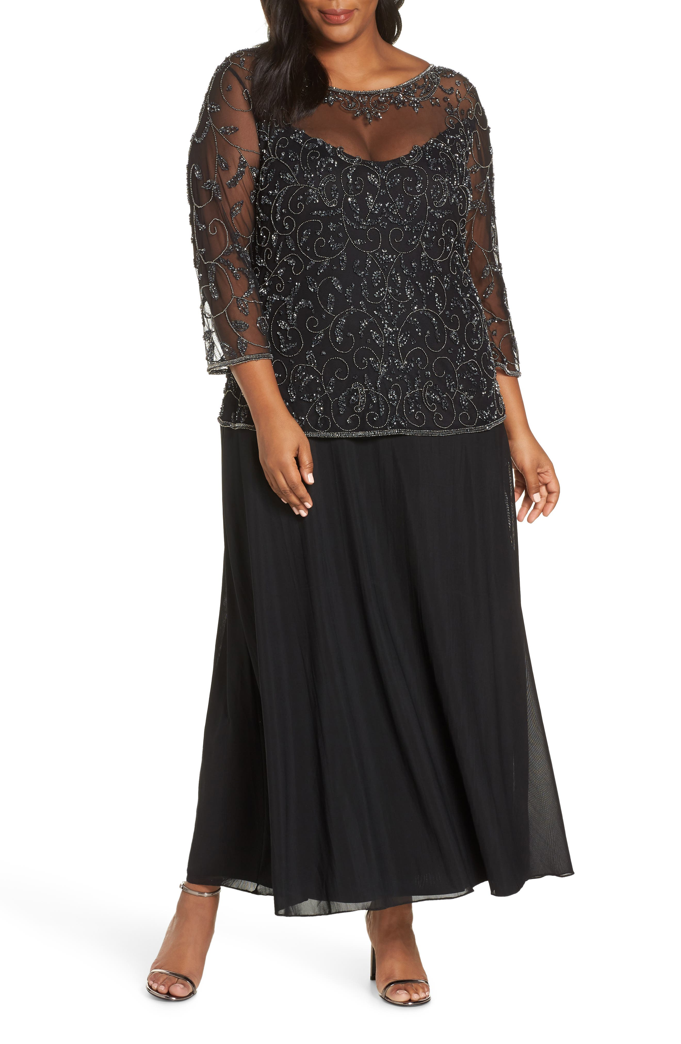Pissaro Nights Beaded Mesh Mock Two-Piece Gown,                         Main,                         color, BLACK
