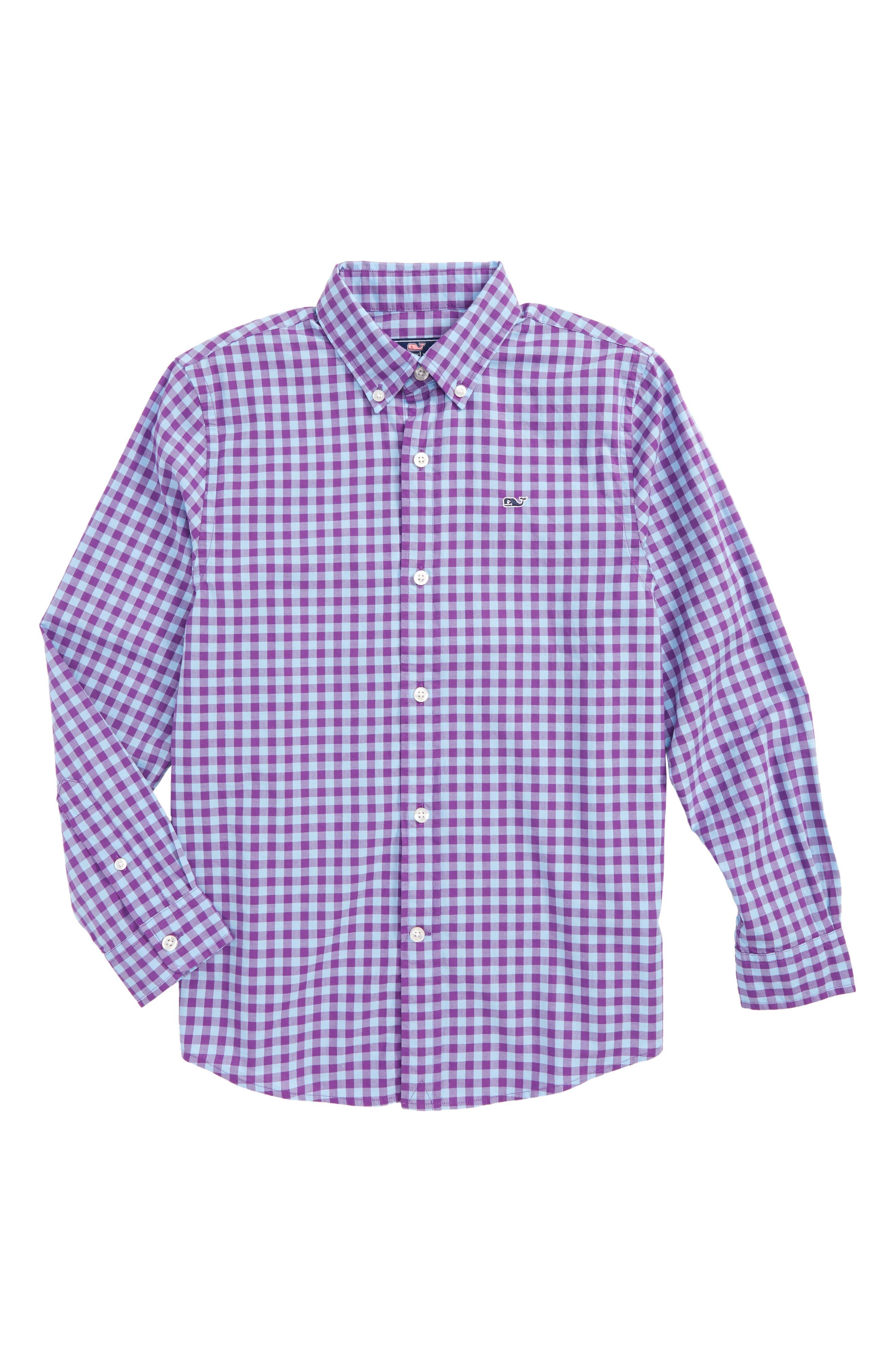 Foggy Coast Gingham Whale Shirt,                         Main,                         color, 517