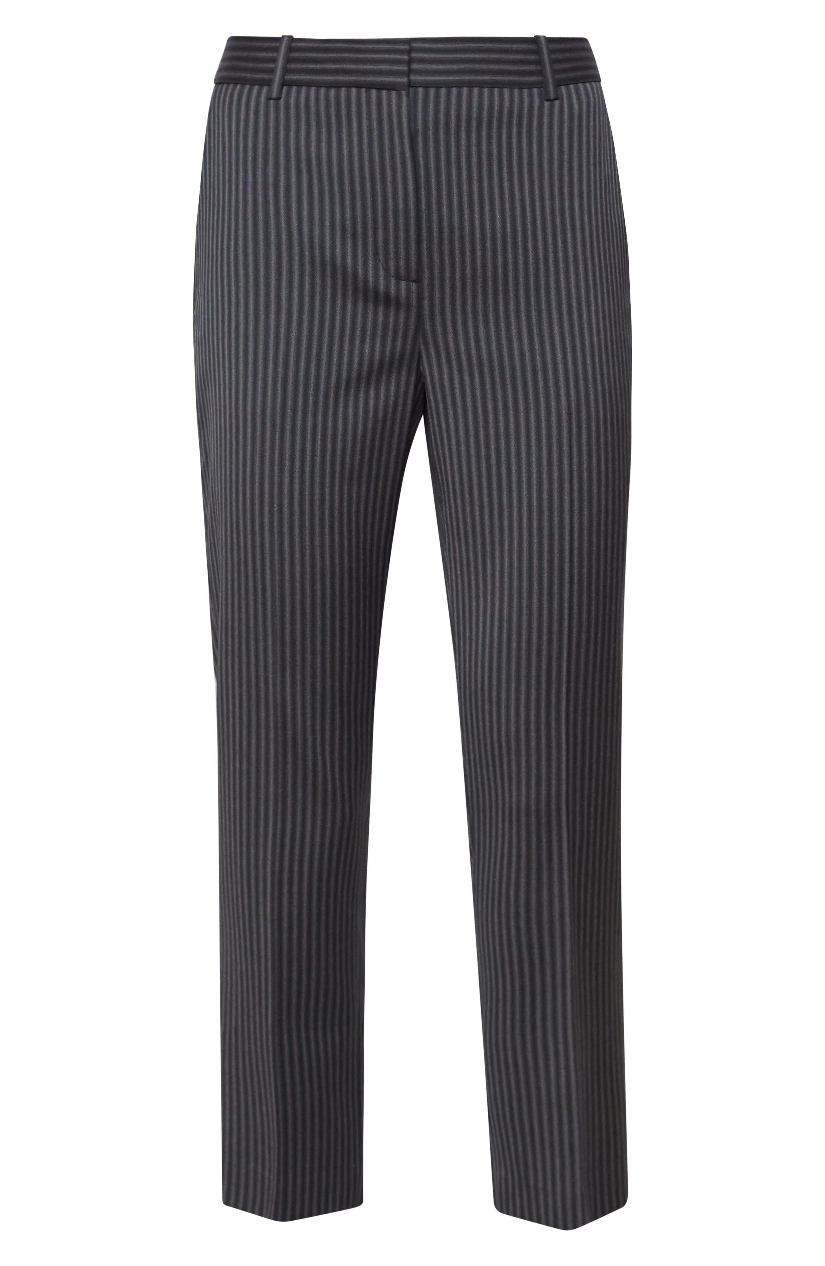 Crop Wool Pants,                             Alternate thumbnail 4, color,                             BLACK