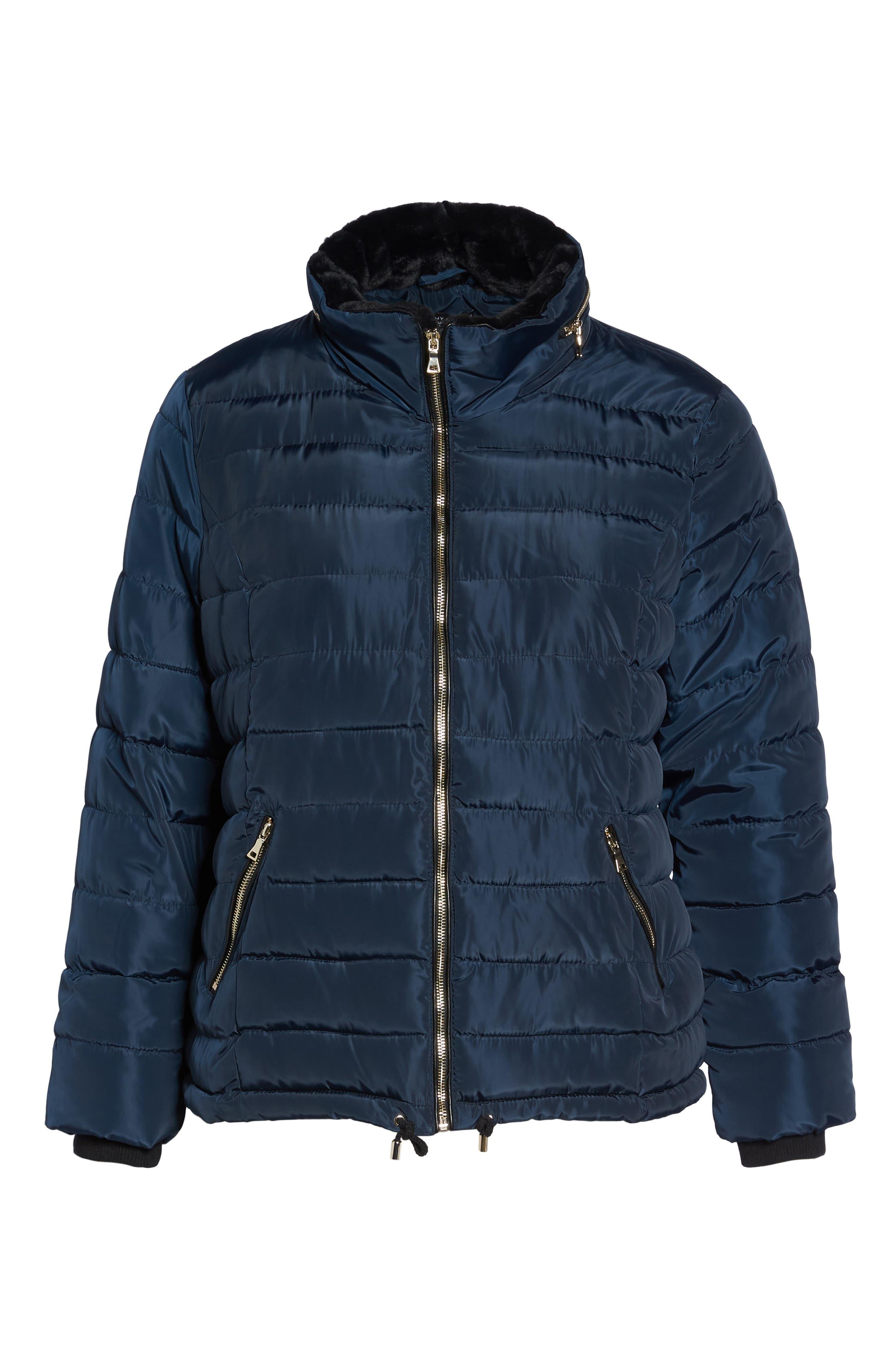 Faux Fur Trim Hooded Puffer Jacket,                             Alternate thumbnail 5, color,                             400