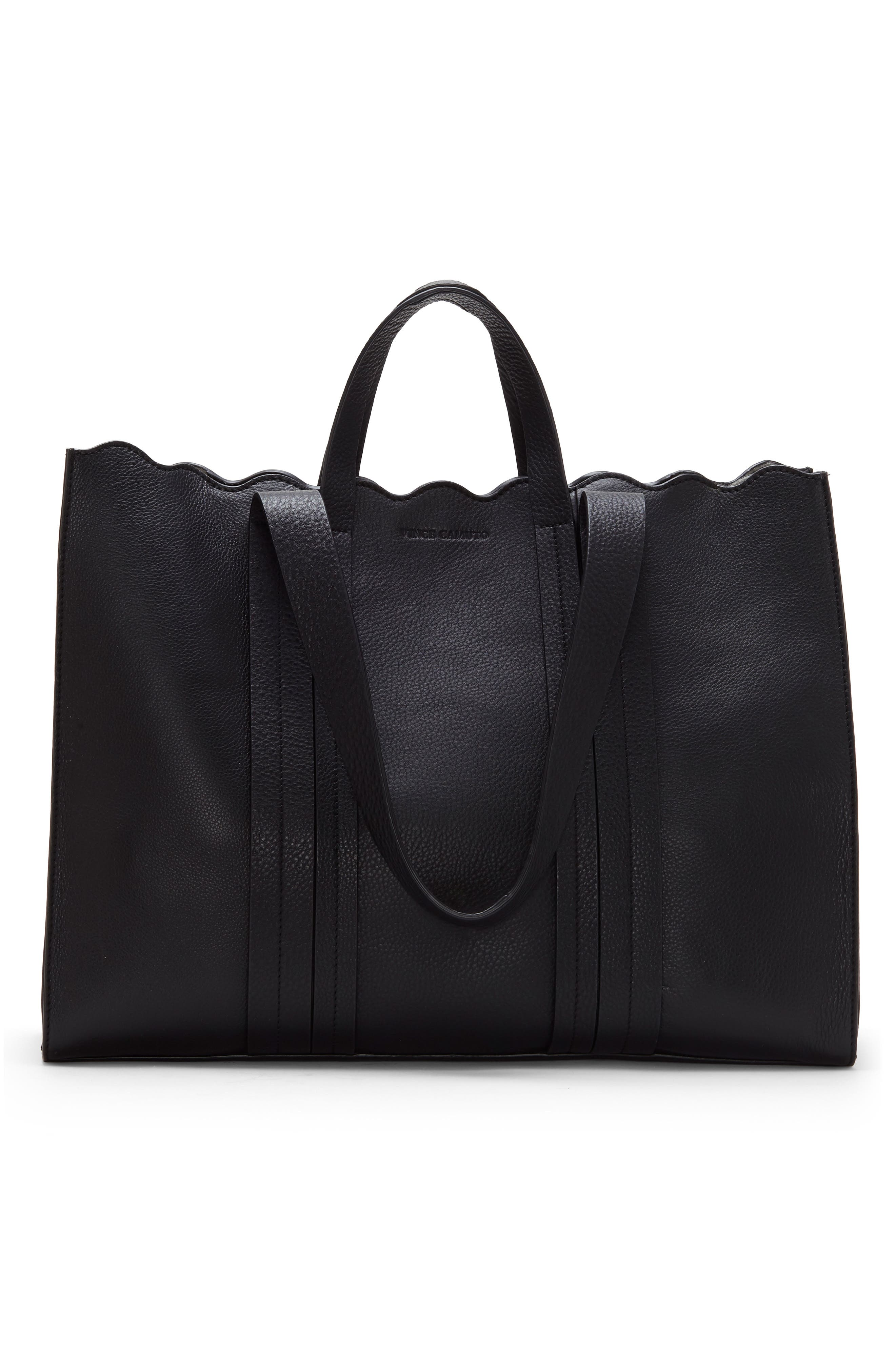 Scallop Leather Tote,                             Alternate thumbnail 2, color,                             BLACK