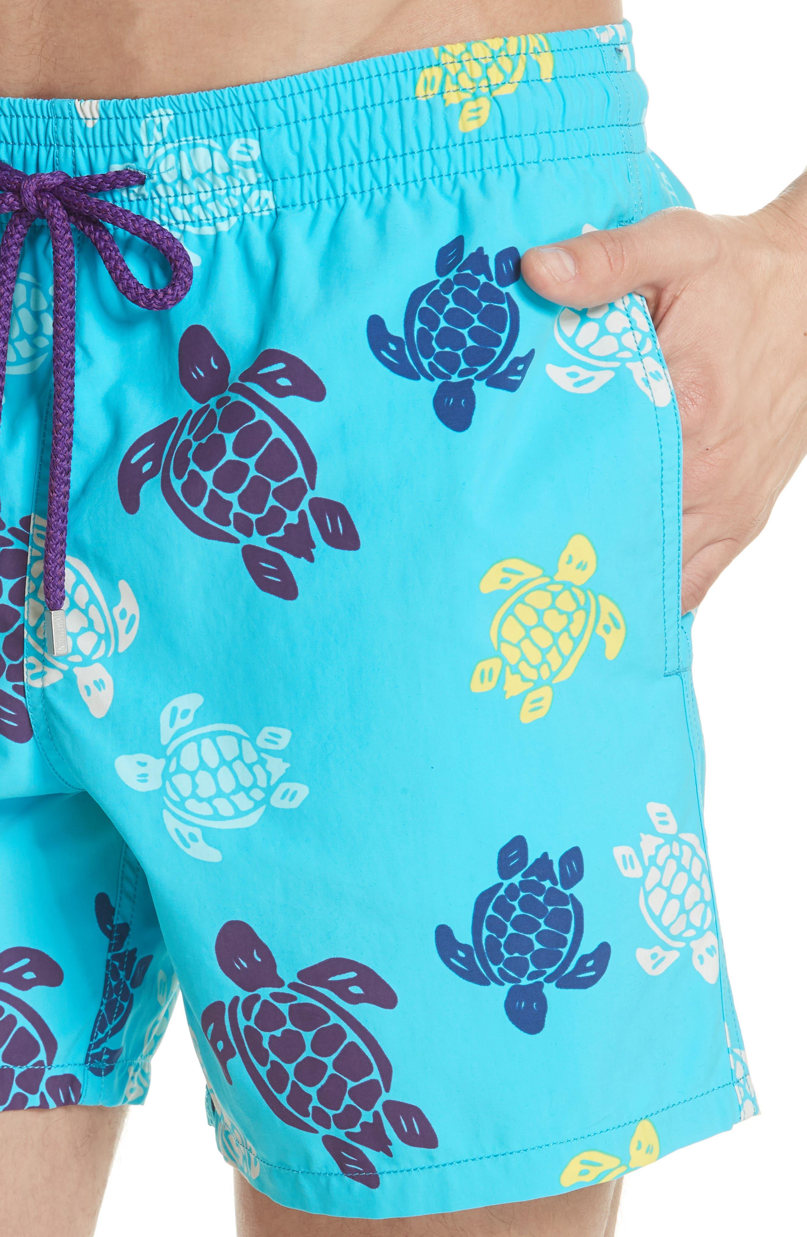 VILEBREQUIN,                             Multicolor Turtle Print Swim Trunks,                             Alternate thumbnail 4, color,                             432