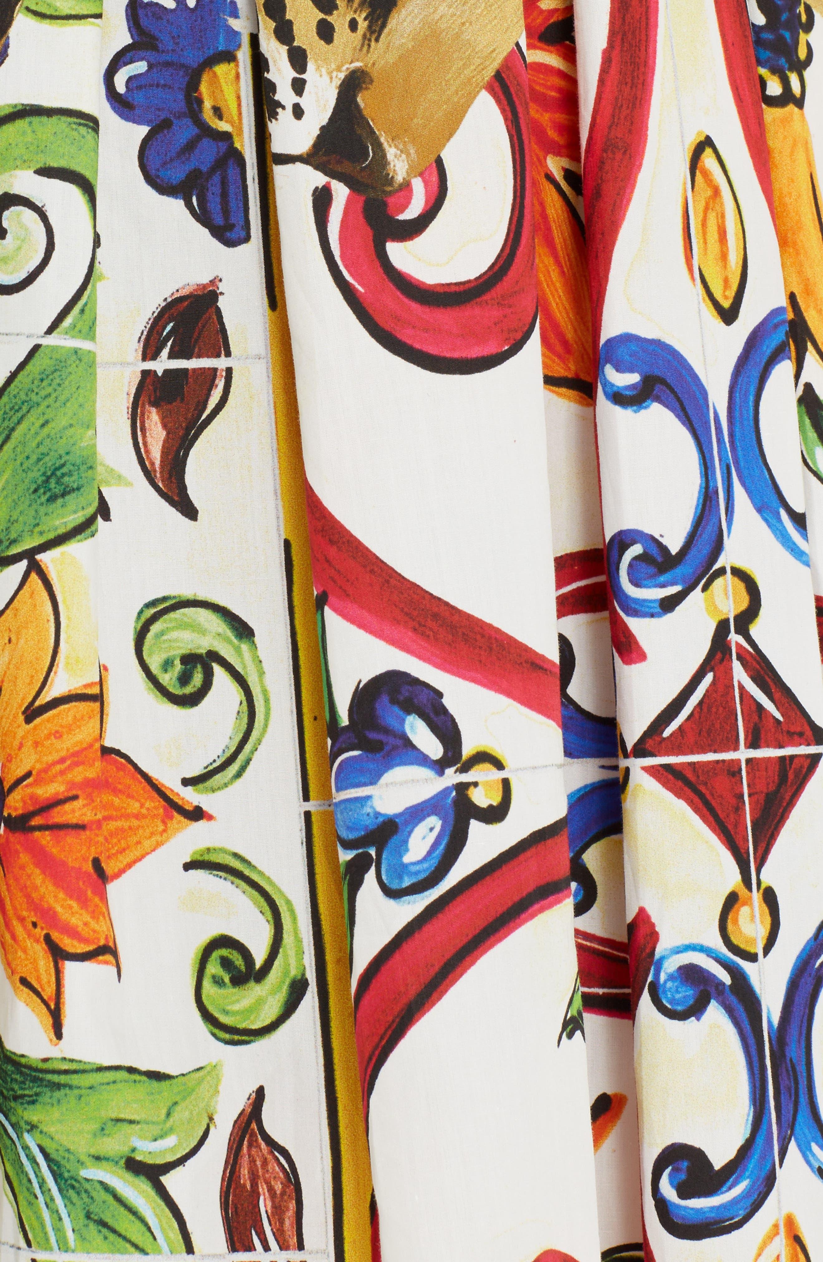 Maiolica Print Cotton Skirt,                             Alternate thumbnail 5, color,                             115