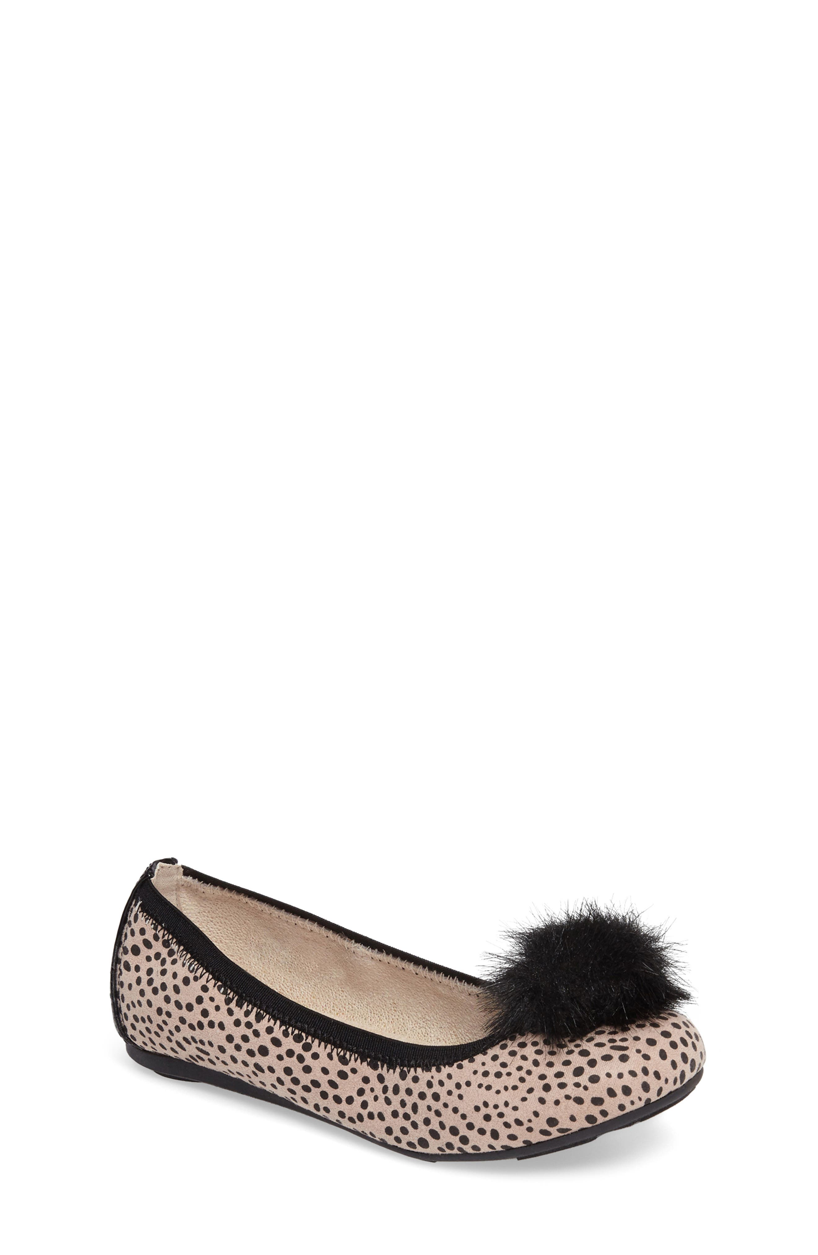 Fannie Cheetah Faux Fur Pom Flat,                             Main thumbnail 1, color,                             012