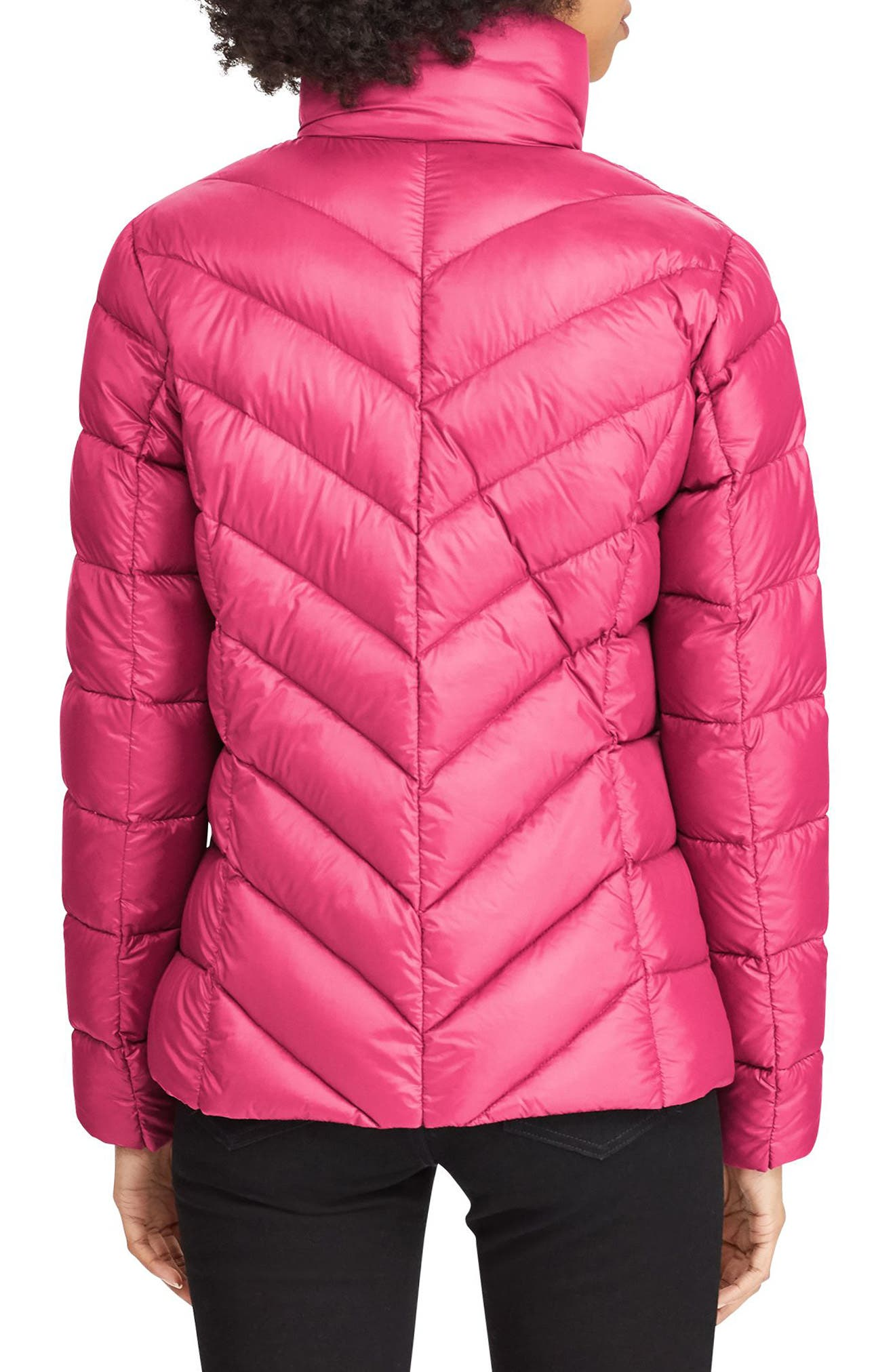 Chevron Quilted Packable Down Jacket,                             Alternate thumbnail 2, color,                             BERRY