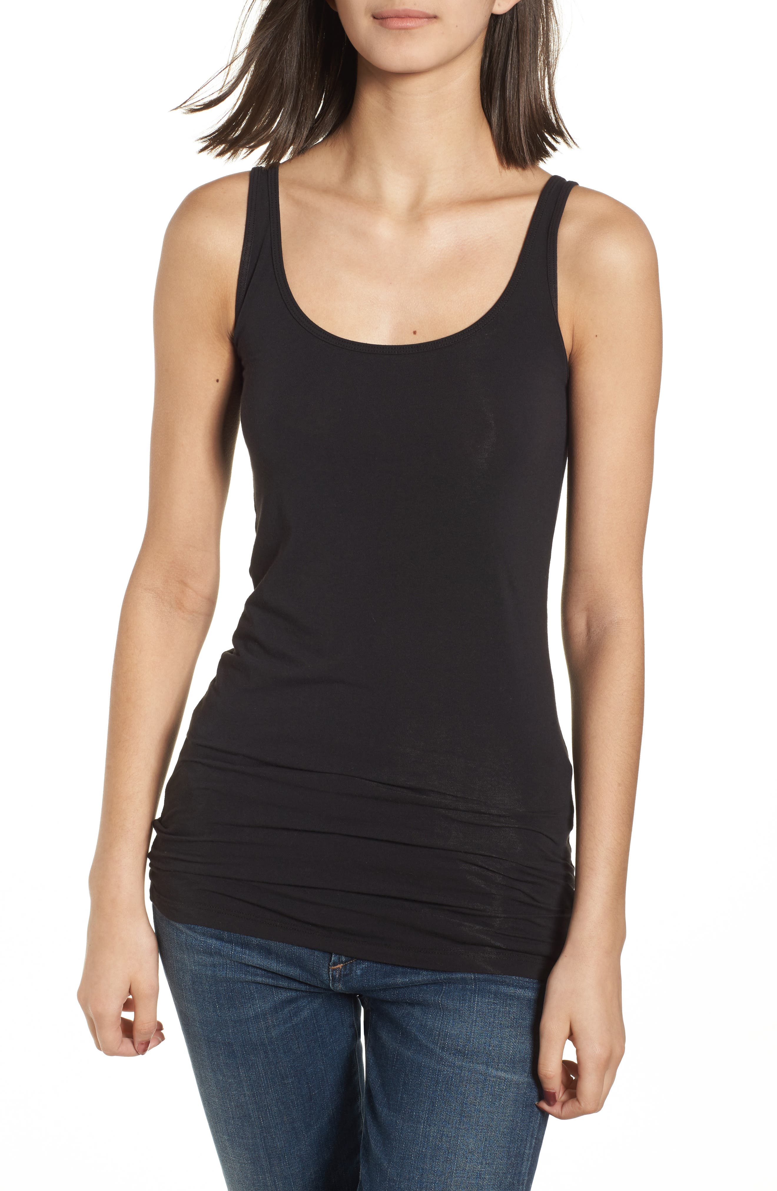 Scoop Neck Stretch Tank,                             Alternate thumbnail 2, color,                             001