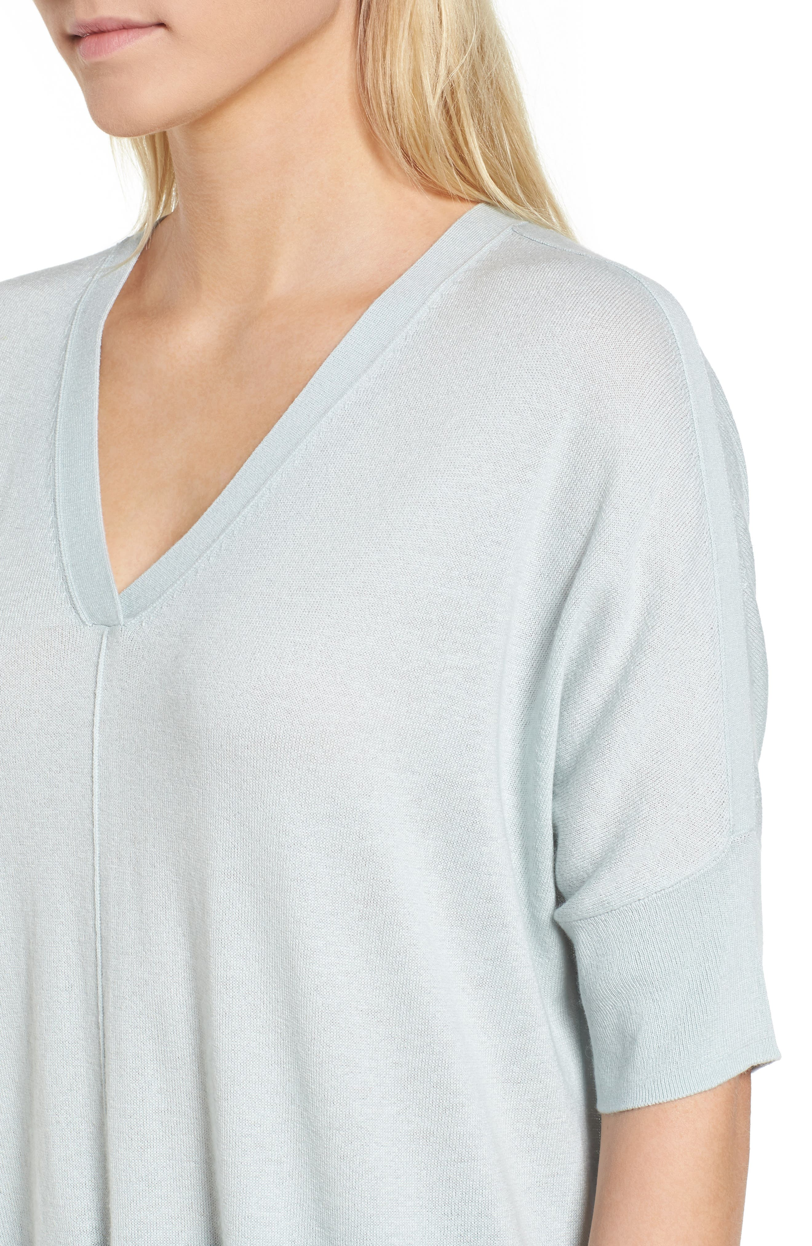 High/Low Silk & Cashmere Sweater,                             Alternate thumbnail 4, color,                             330