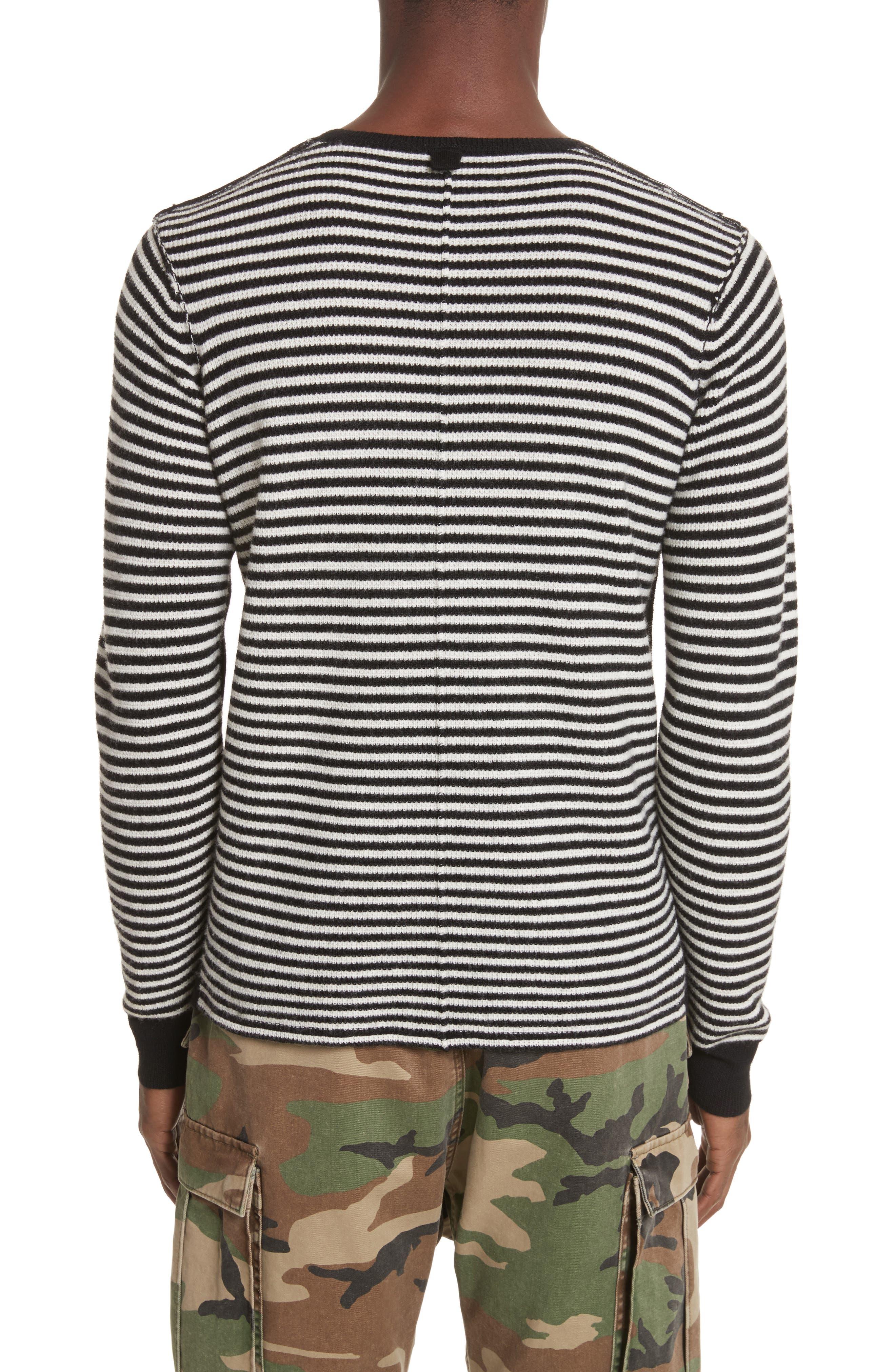Stripe Waffle Knit Wool Sweater,                             Alternate thumbnail 2, color,                             006