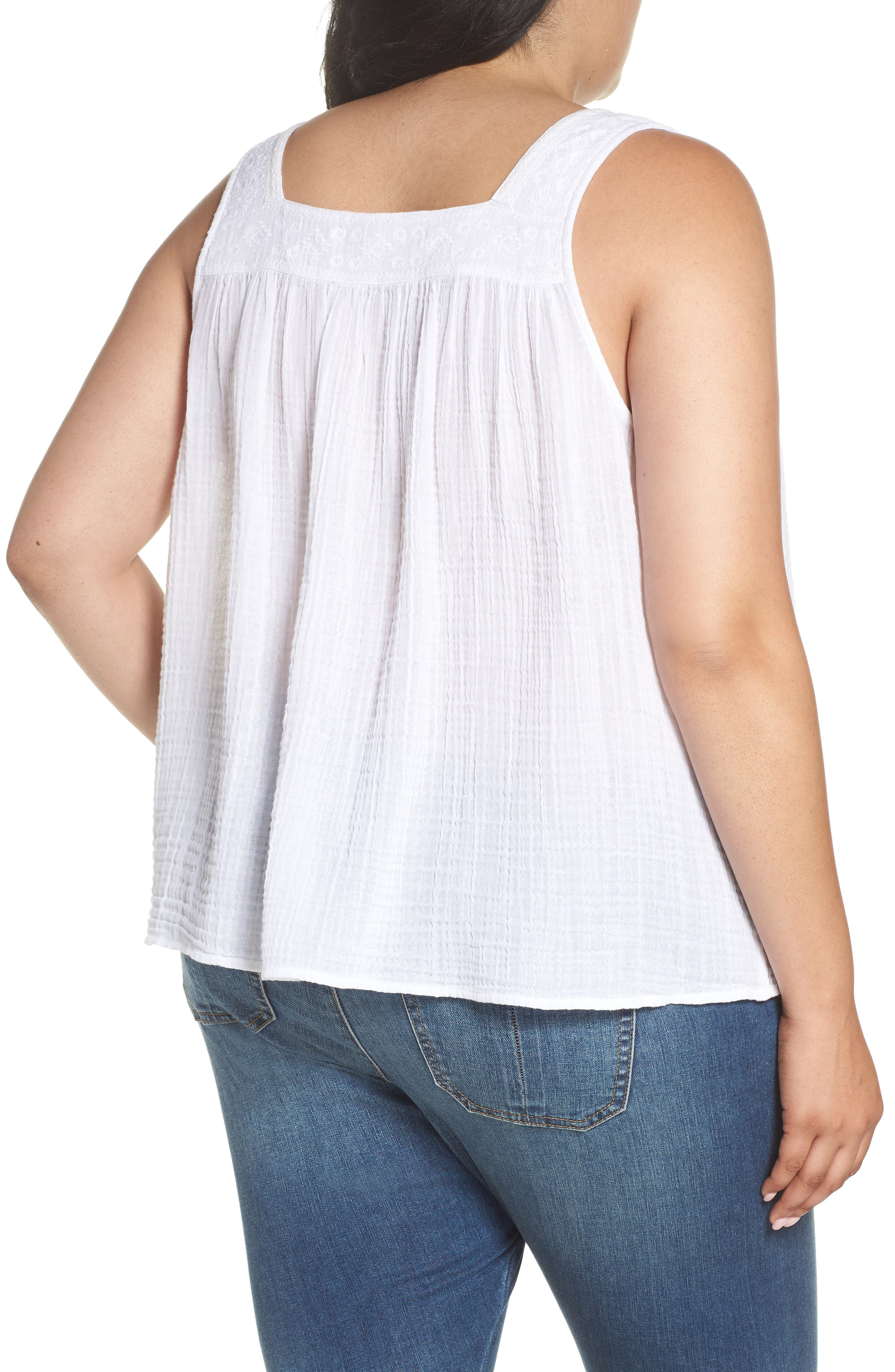Embroidered Neck Swing Tank,                             Alternate thumbnail 2, color,                             WHITE