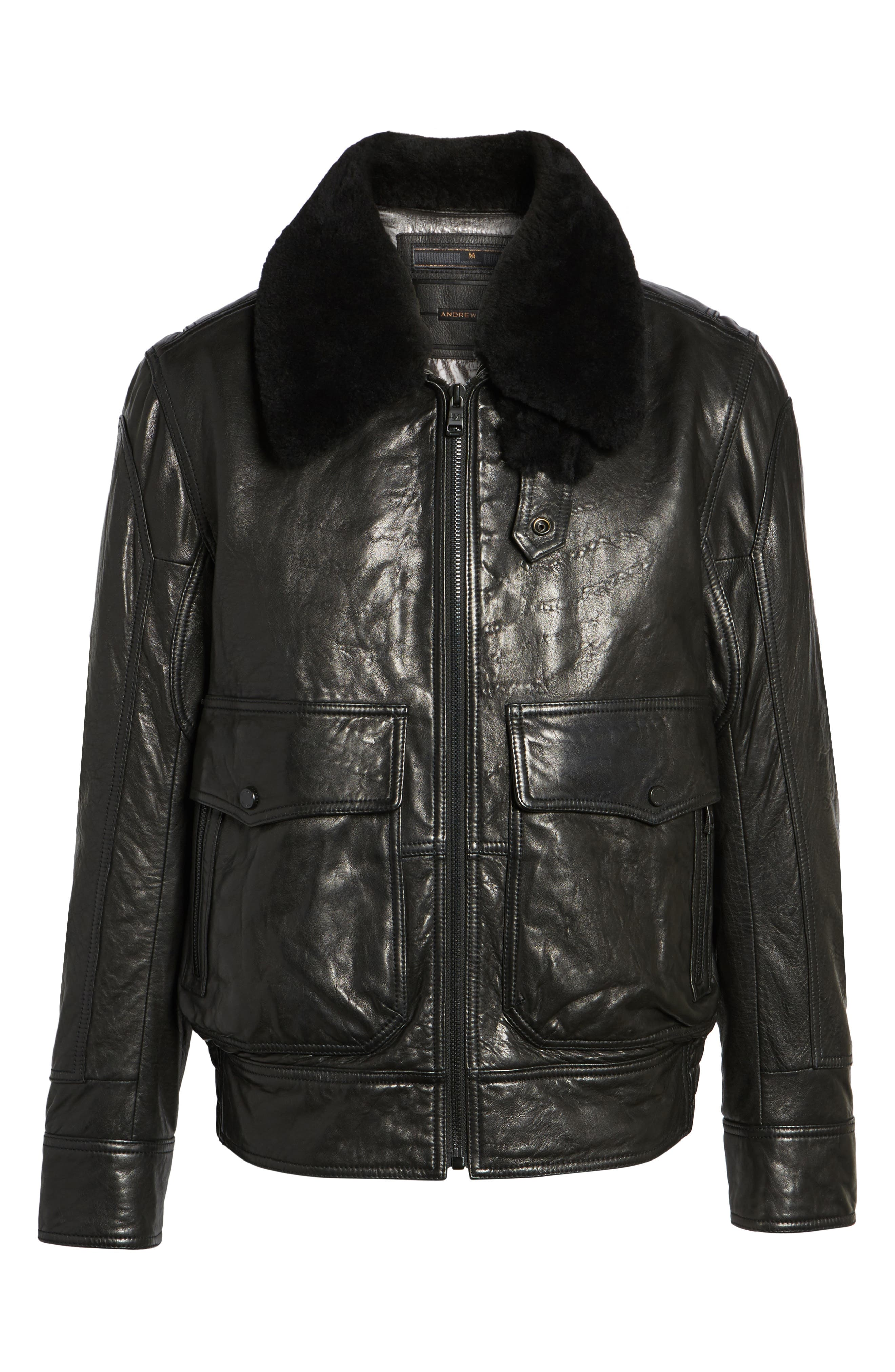 3614 Leather Jacket with Genuine Lamb Shearling Collar,                             Alternate thumbnail 5, color,                             001