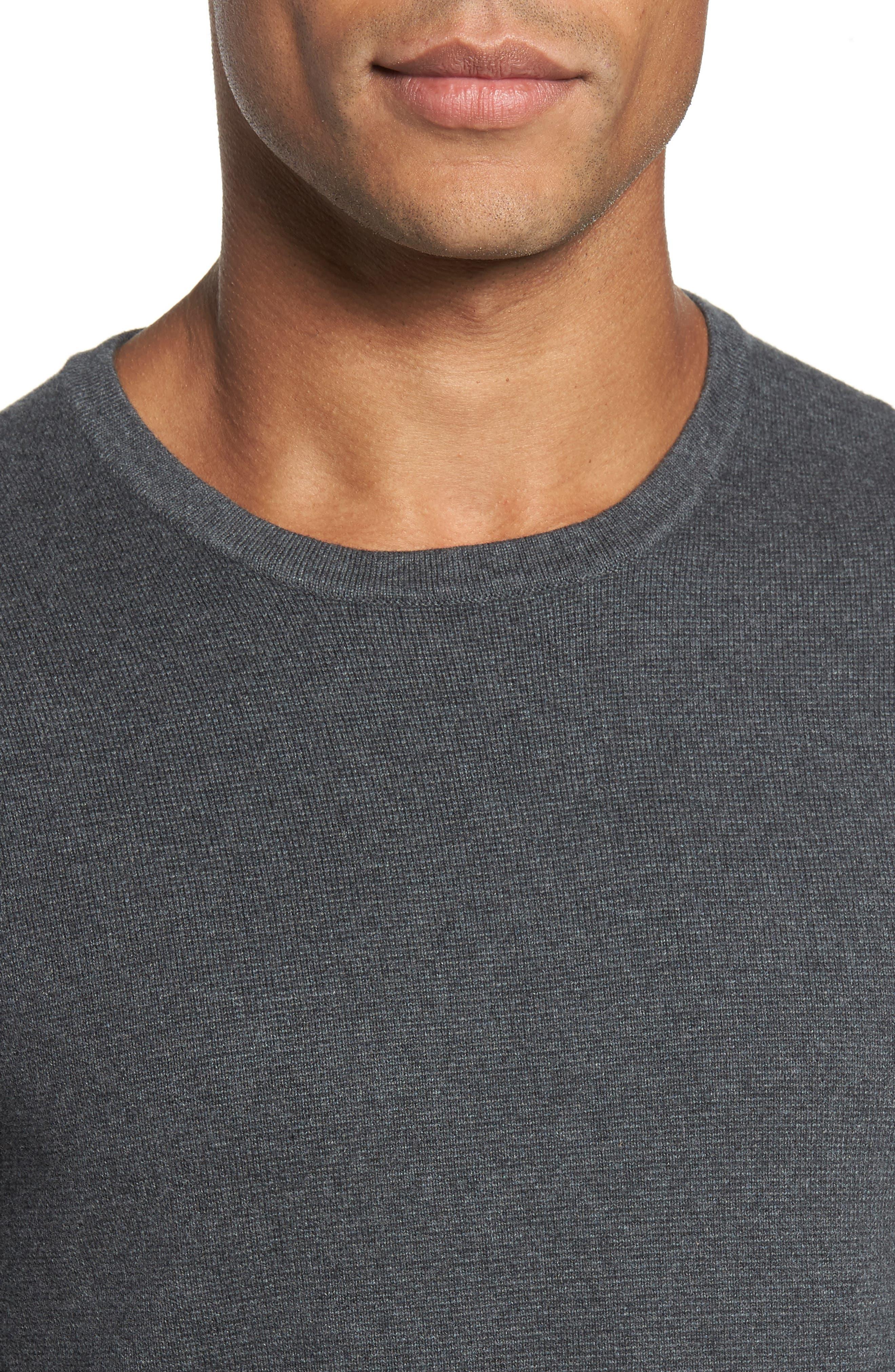 Milano Front Regular Fit Cotton Sweater,                             Alternate thumbnail 4, color,                             CHARCOAL MELANGE