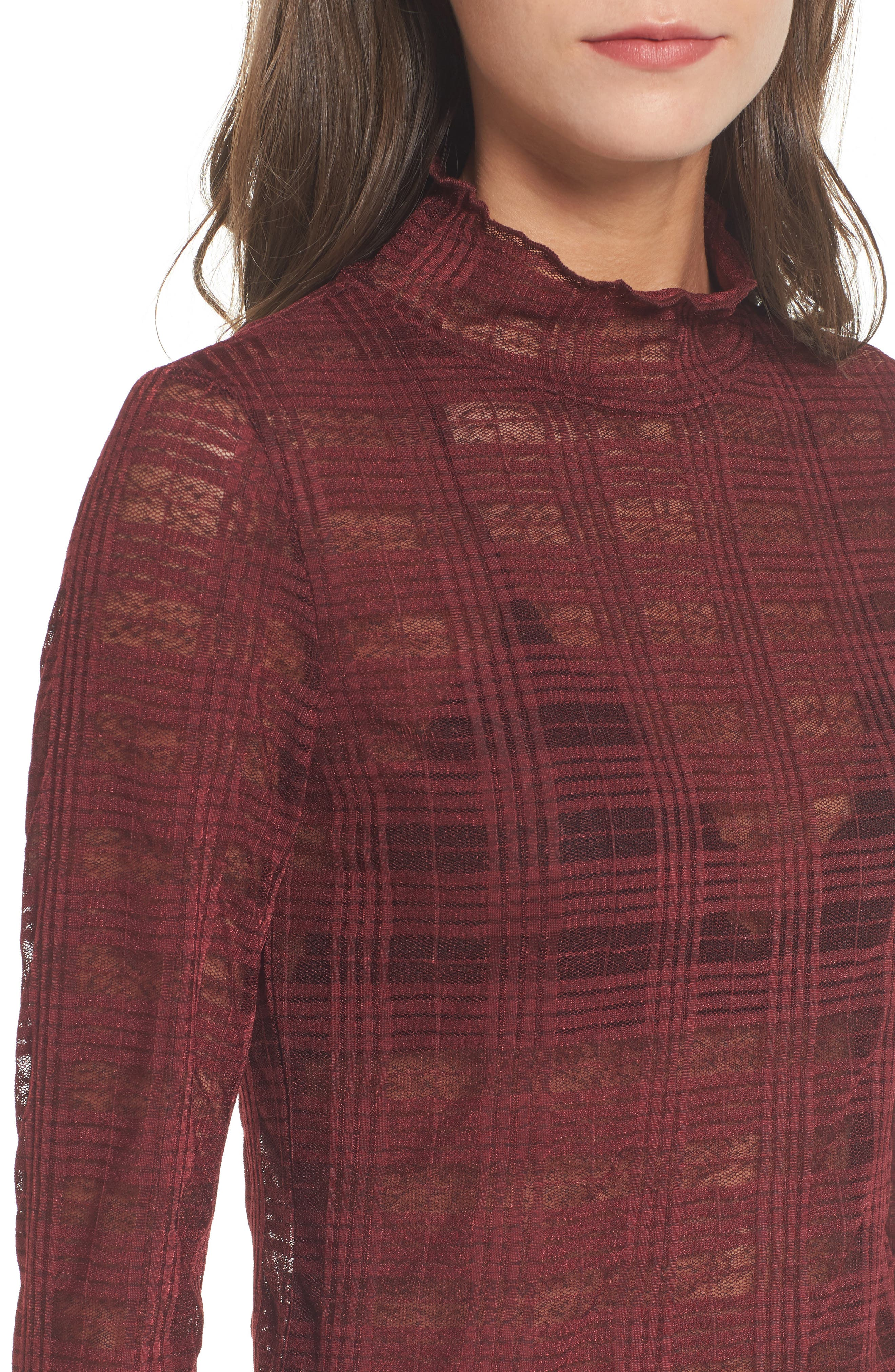Bell Sleeve Mesh Top,                             Alternate thumbnail 4, color,                             601
