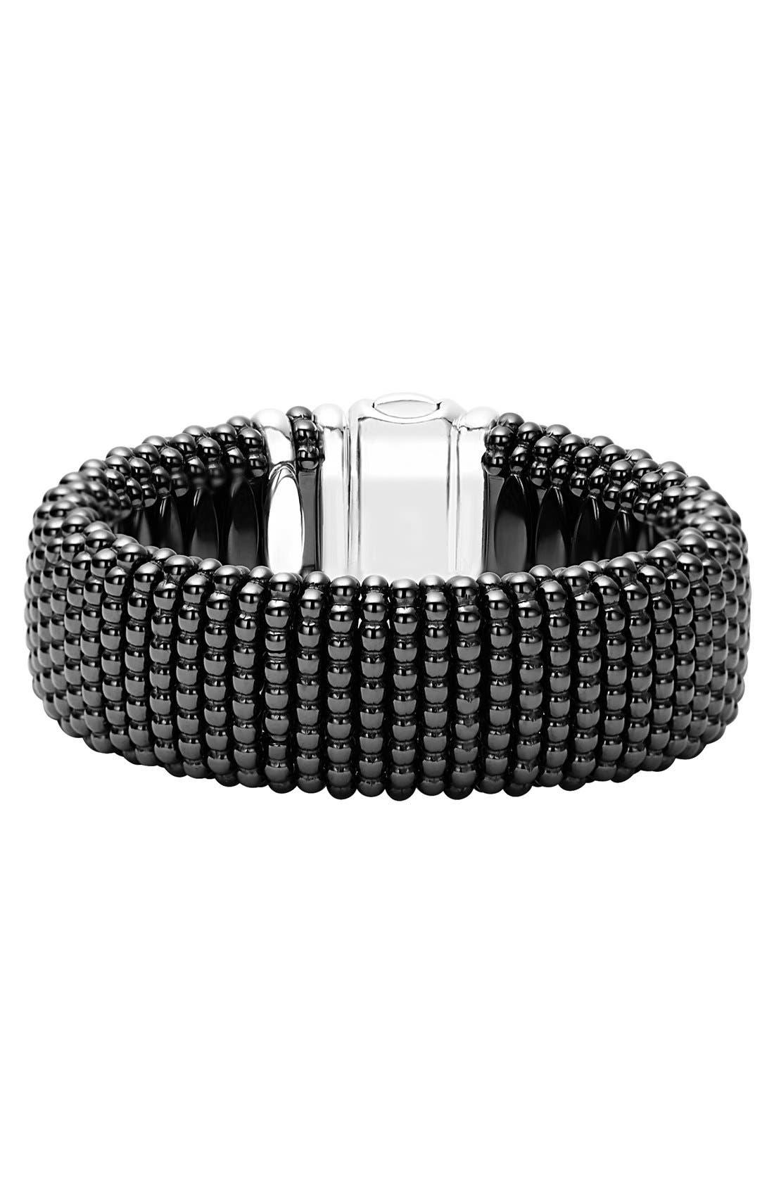 'Caviar Rope' Bracelet,                         Main,                         color, BLACK/ GOLD