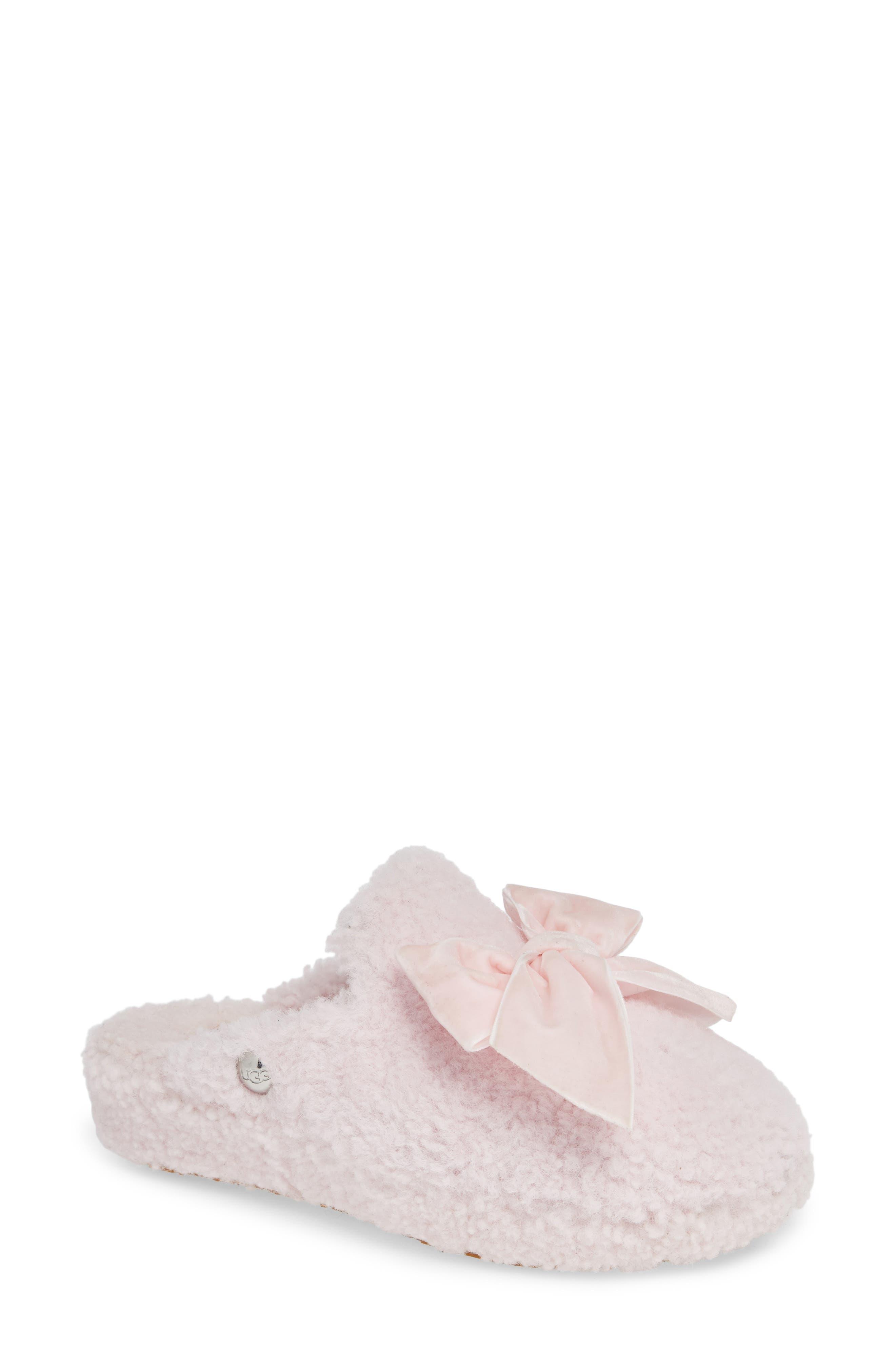 Addison Velvet-Bow Curly Sheepskin Slippers in Seashell Pink