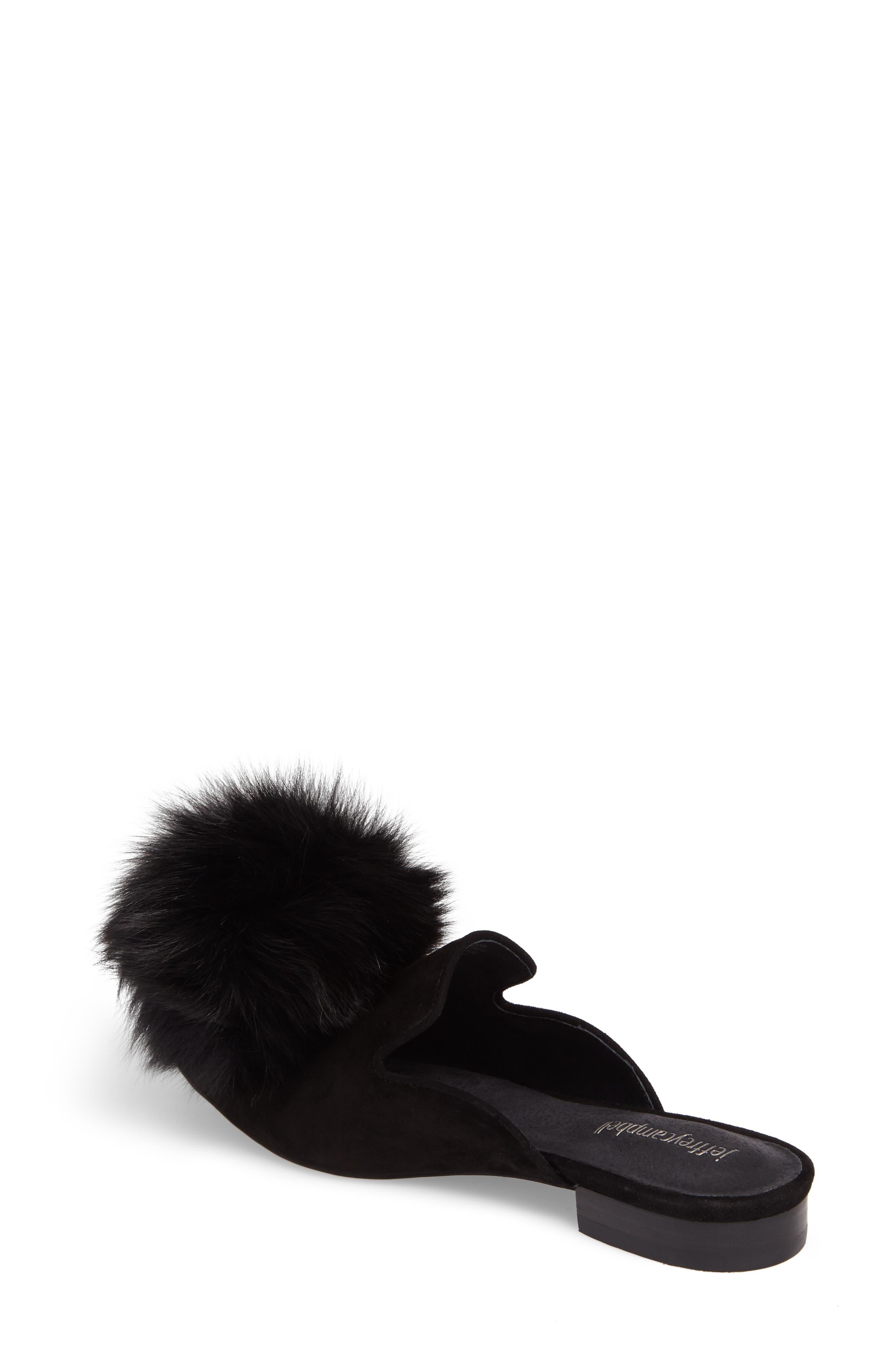Claes Genuine Fur Pompom Mule,                             Alternate thumbnail 2, color,                             007