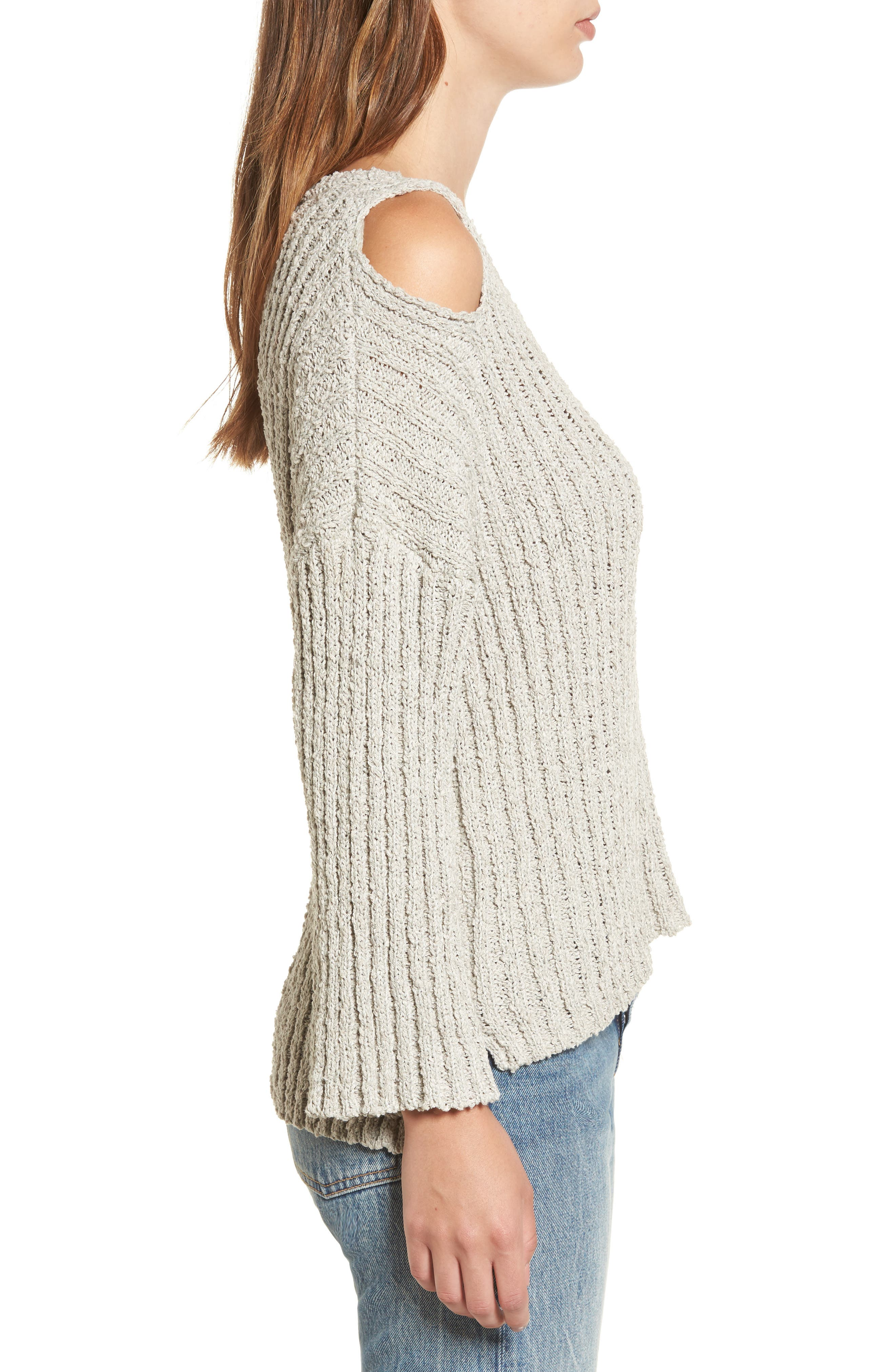 Fuzzy Knit Cold Shoulder Sweater,                             Alternate thumbnail 3, color,                             020