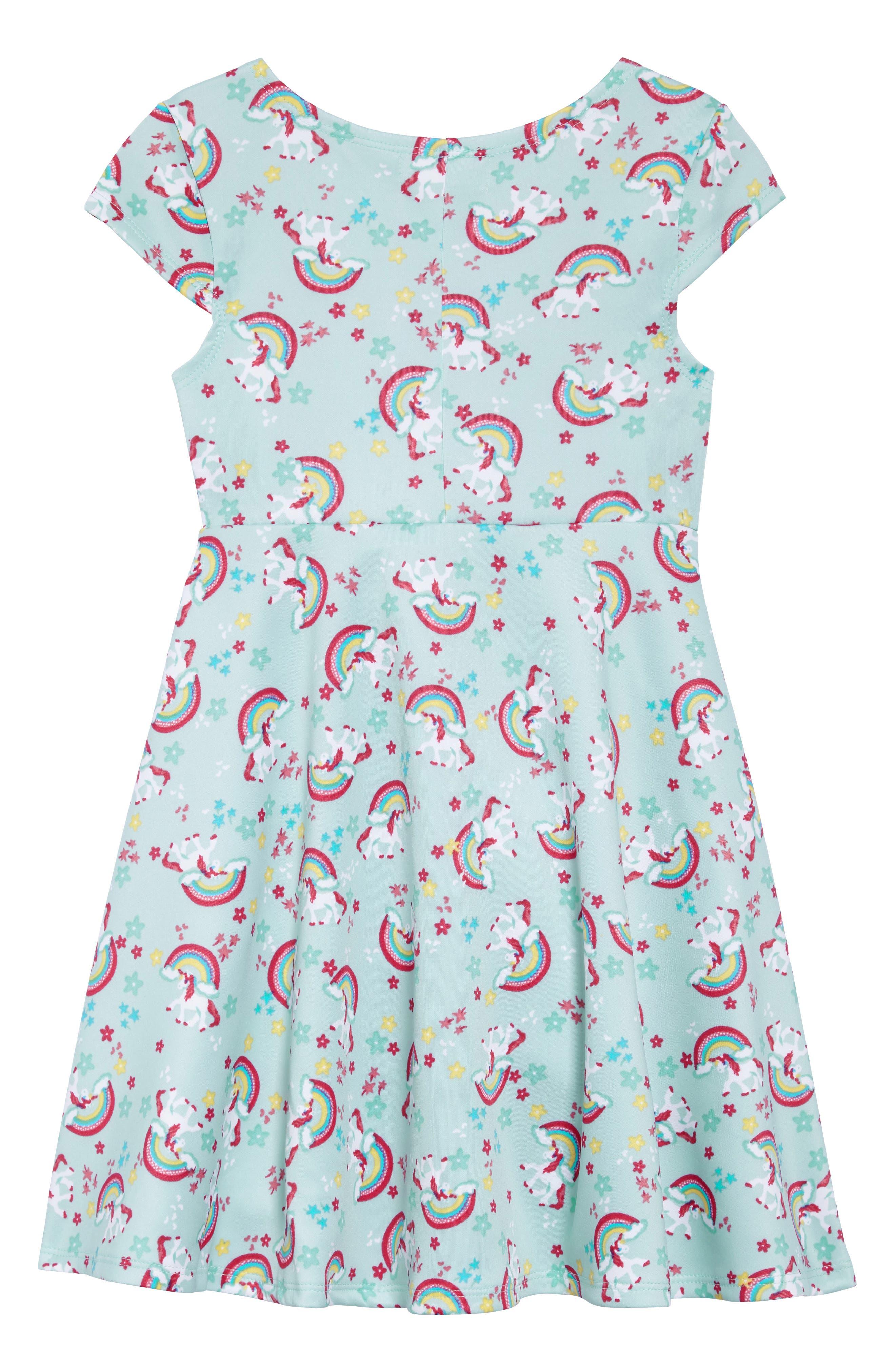 Unicorn Print Dress,                             Alternate thumbnail 2, color,                             363