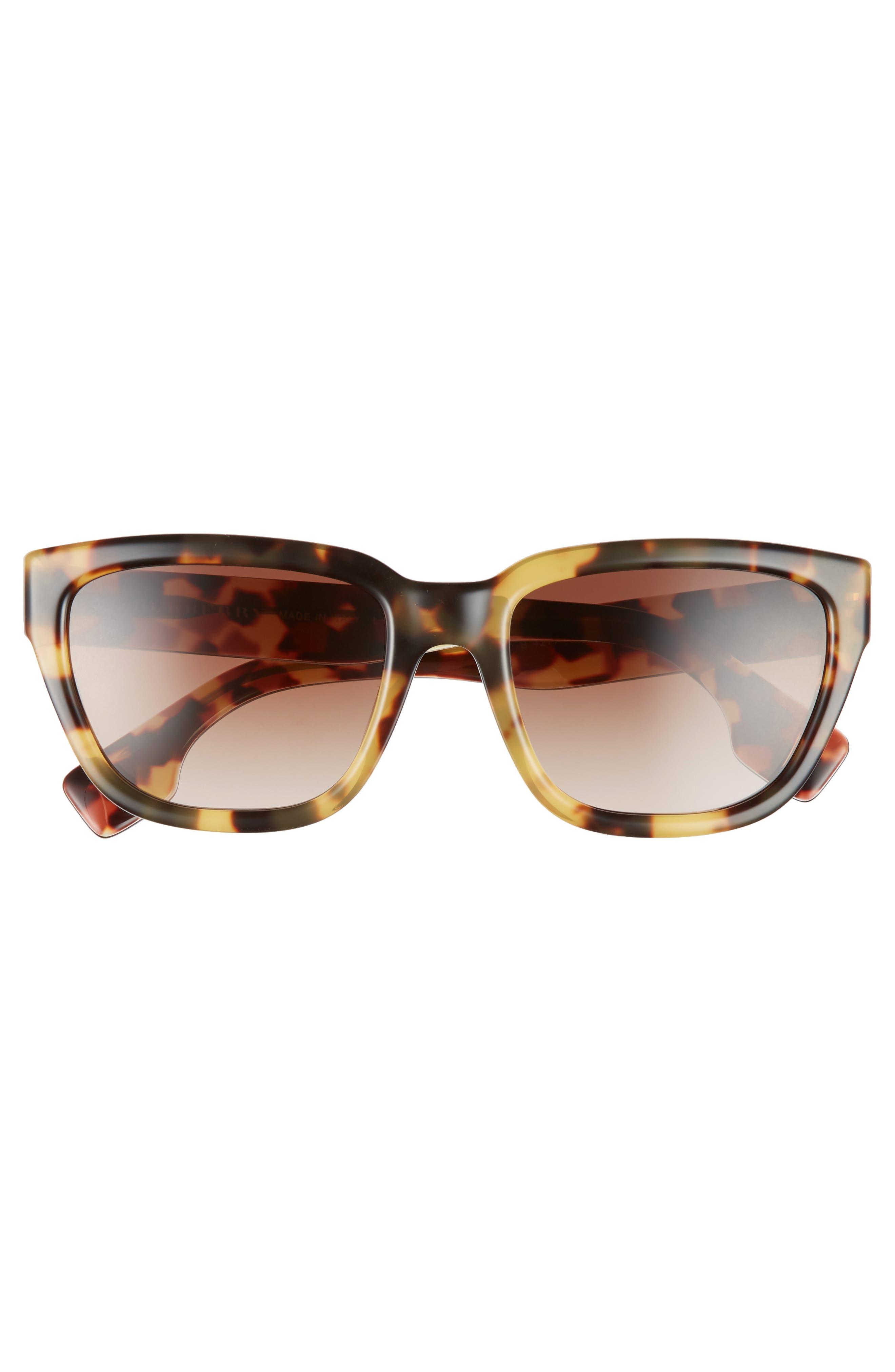 54mm Square Sunglasses,                             Alternate thumbnail 3, color,                             LITE HAVANA/ BROWN GRADIENT