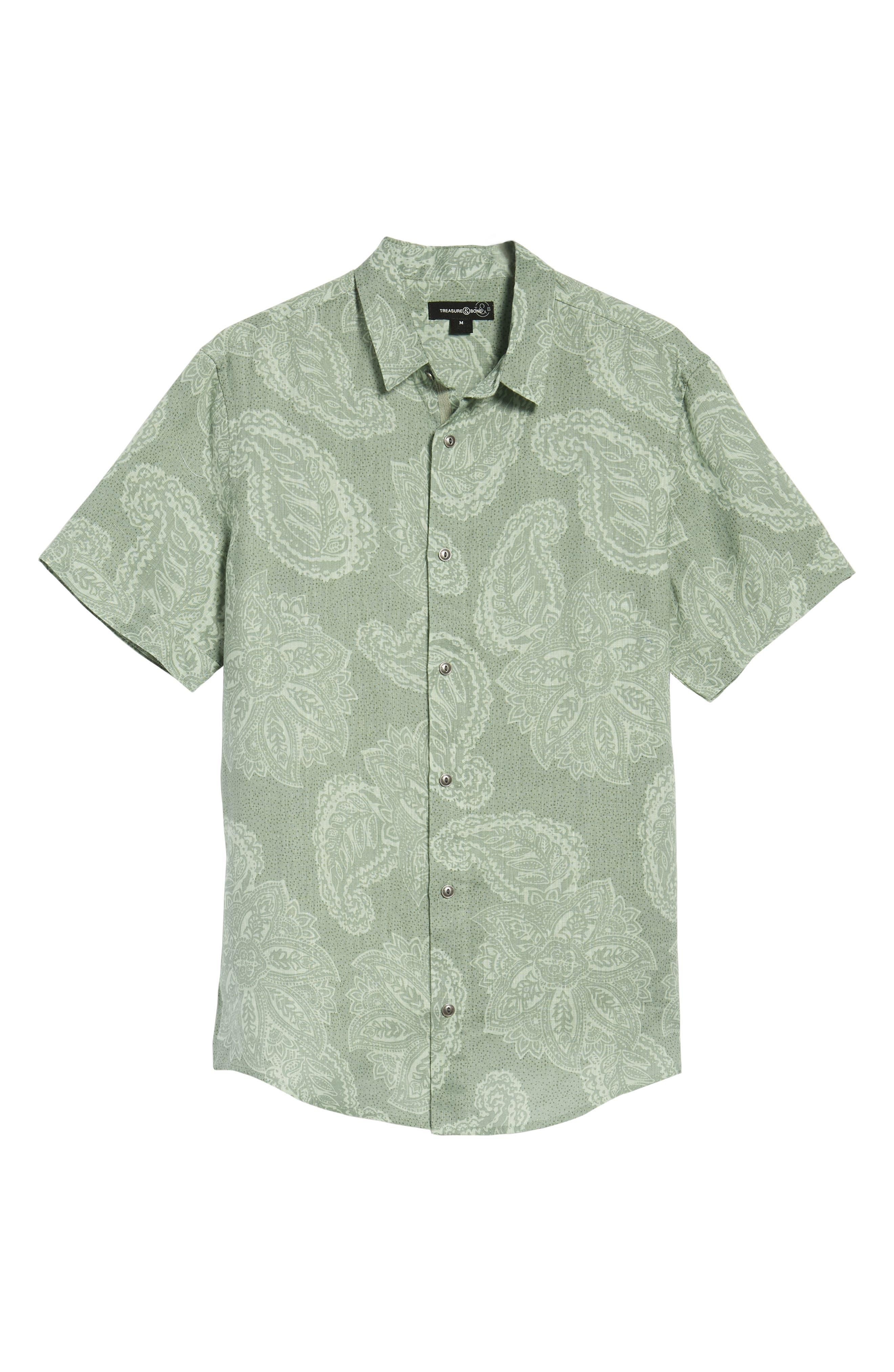 Paisley Linen Camp Shirt,                             Alternate thumbnail 6, color,                             310
