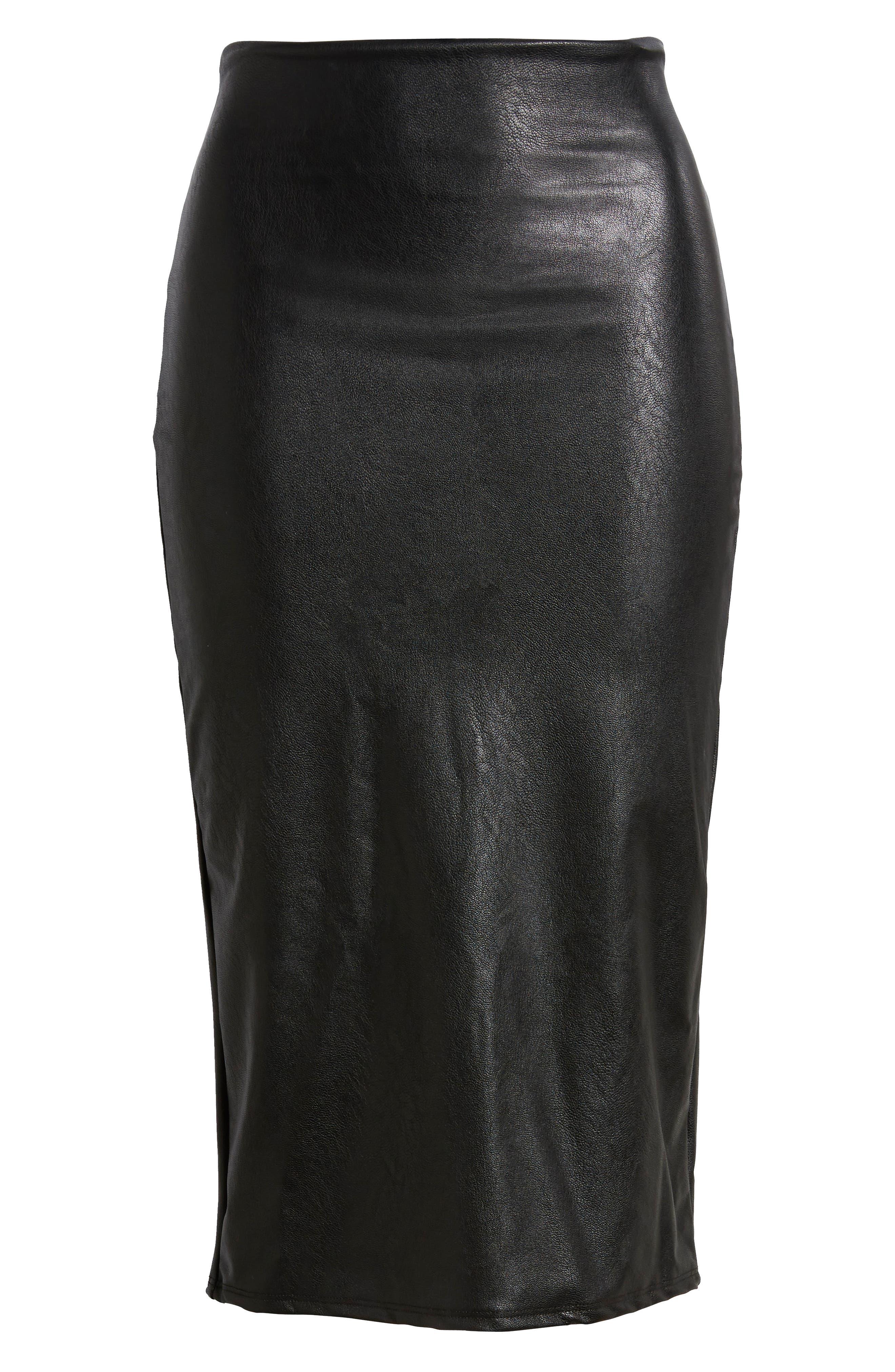 Faux Leather Midi Skirt,                             Alternate thumbnail 6, color,                             BLACK