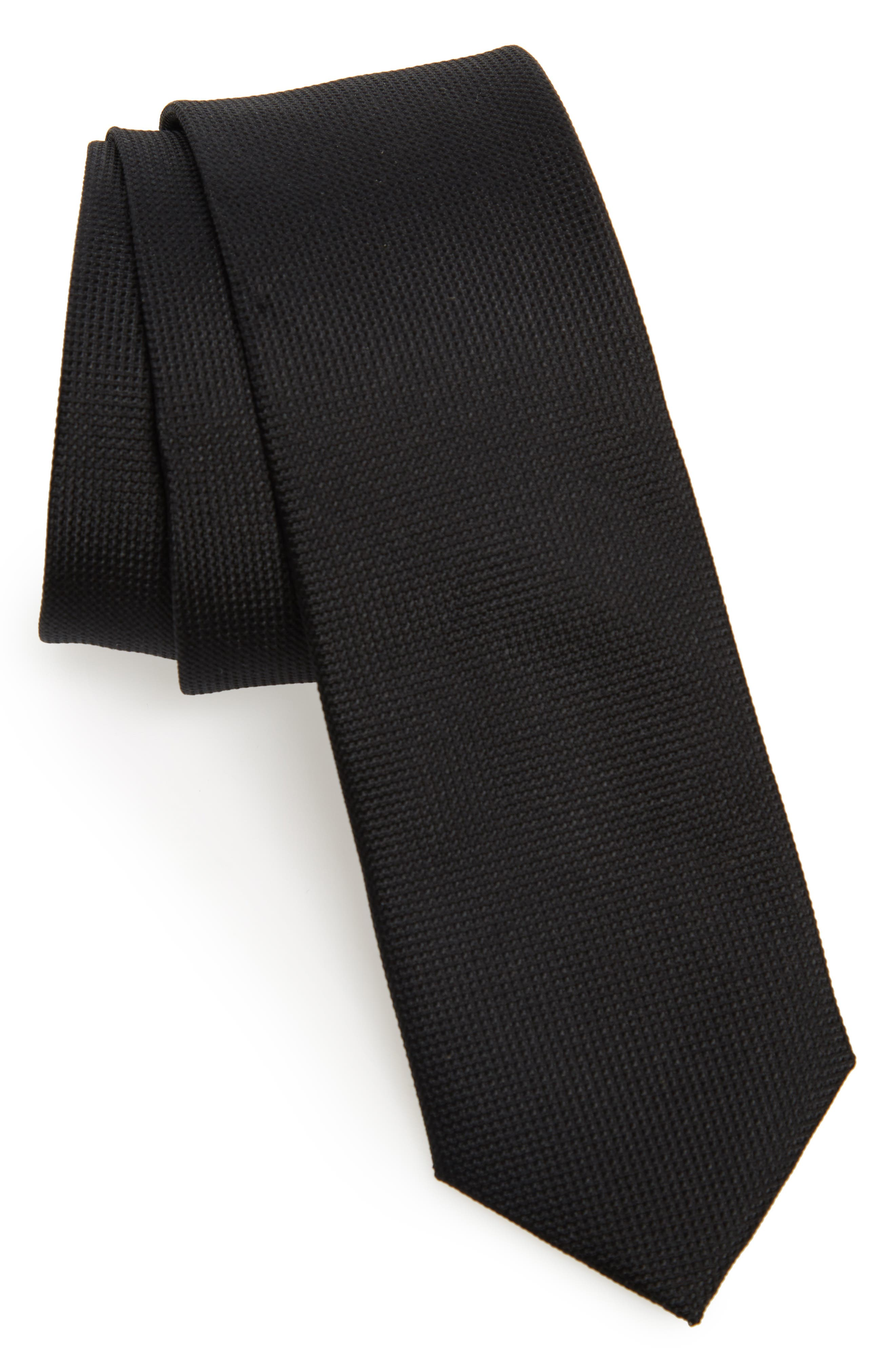 Jameswood Silk Tie,                         Main,                         color, BLACK