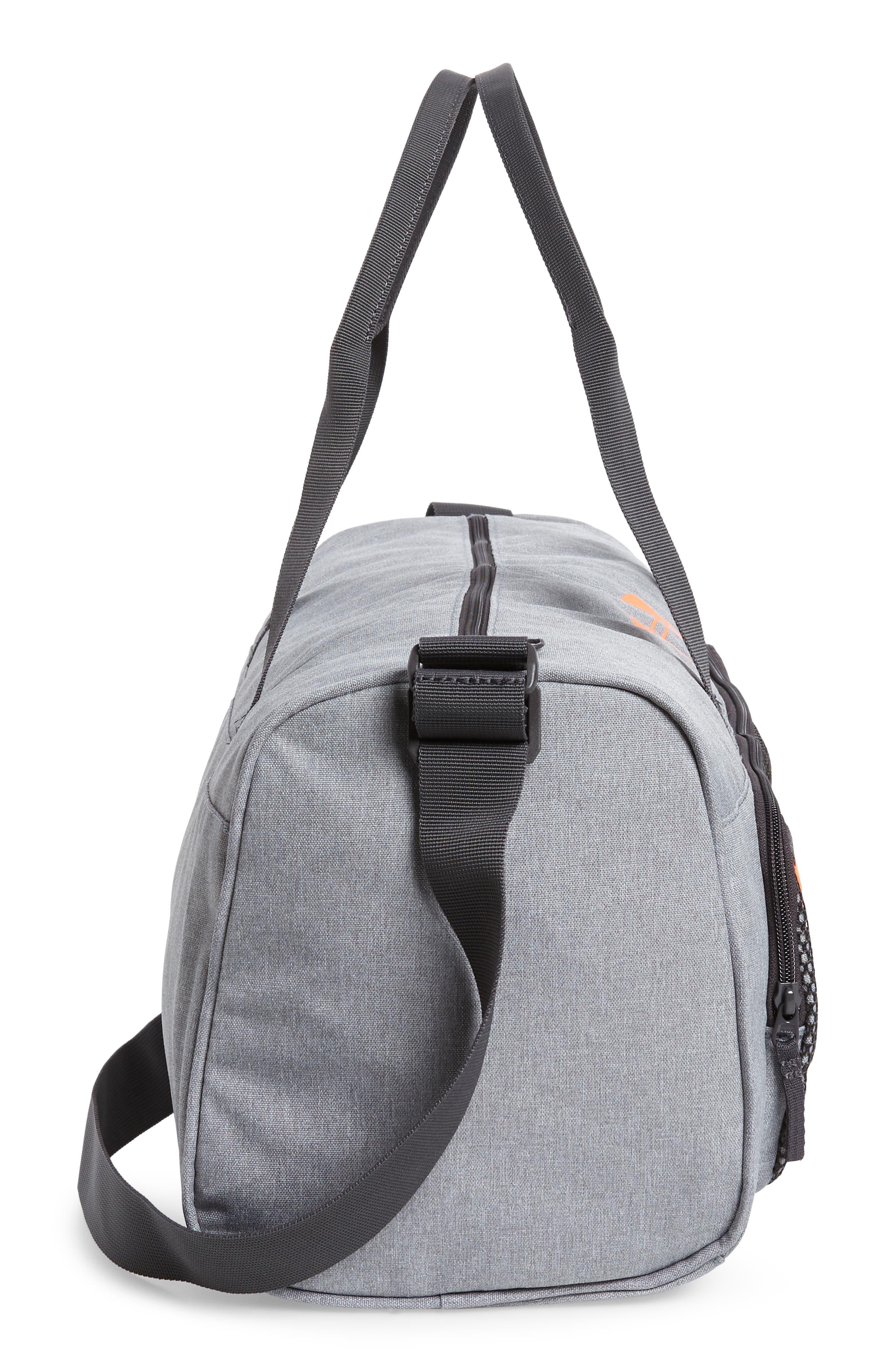 Select Water Resistant Duffel Bag,                             Alternate thumbnail 4, color,                             STEEL HEATHER /CHARCOAL/ORANGE