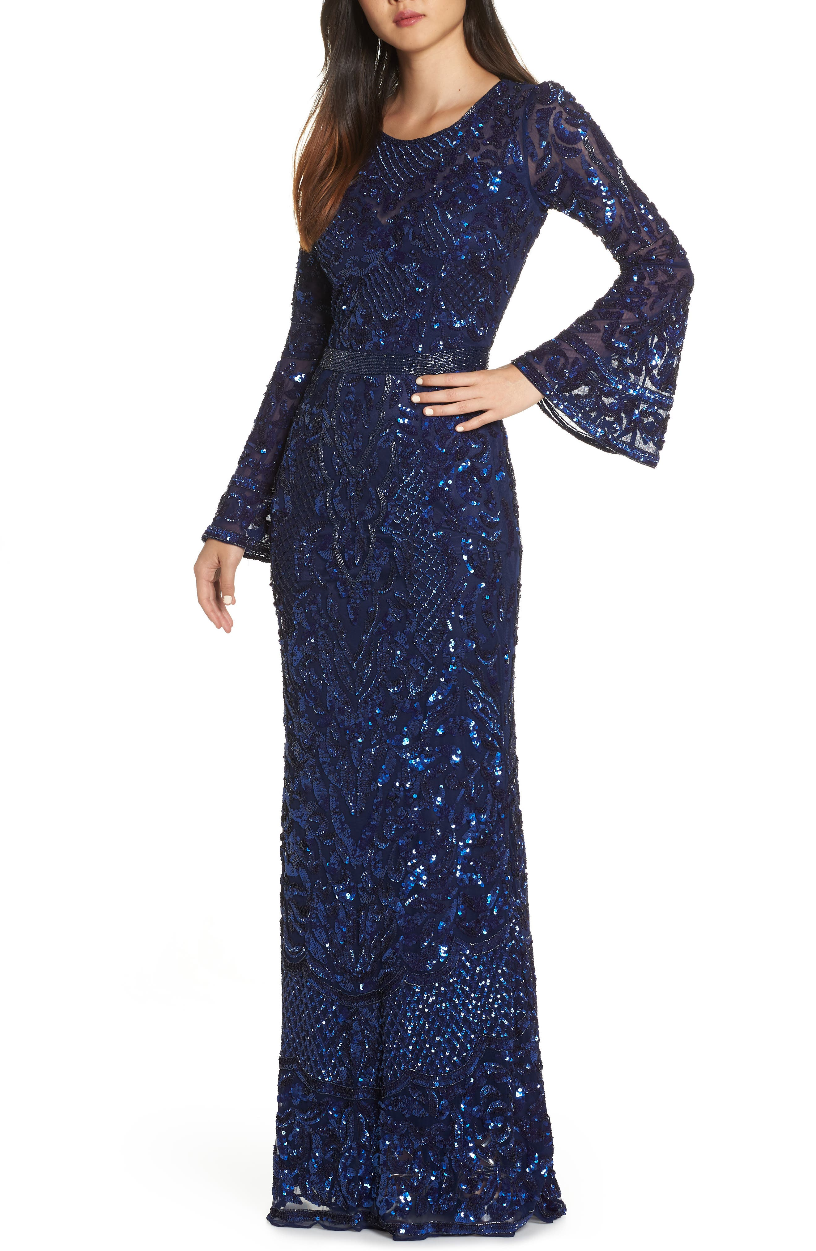 MAC Duggal Sequin Bell Sleeve Gown, Blue