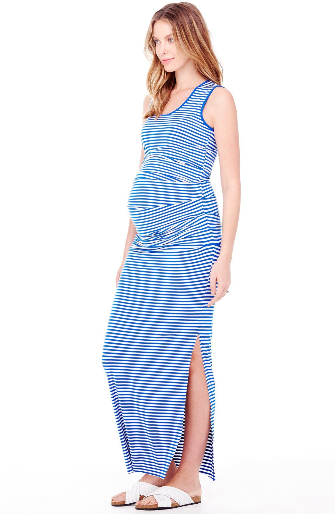 Striped Tank Maternity Maxi Dress,                             Alternate thumbnail 10, color,