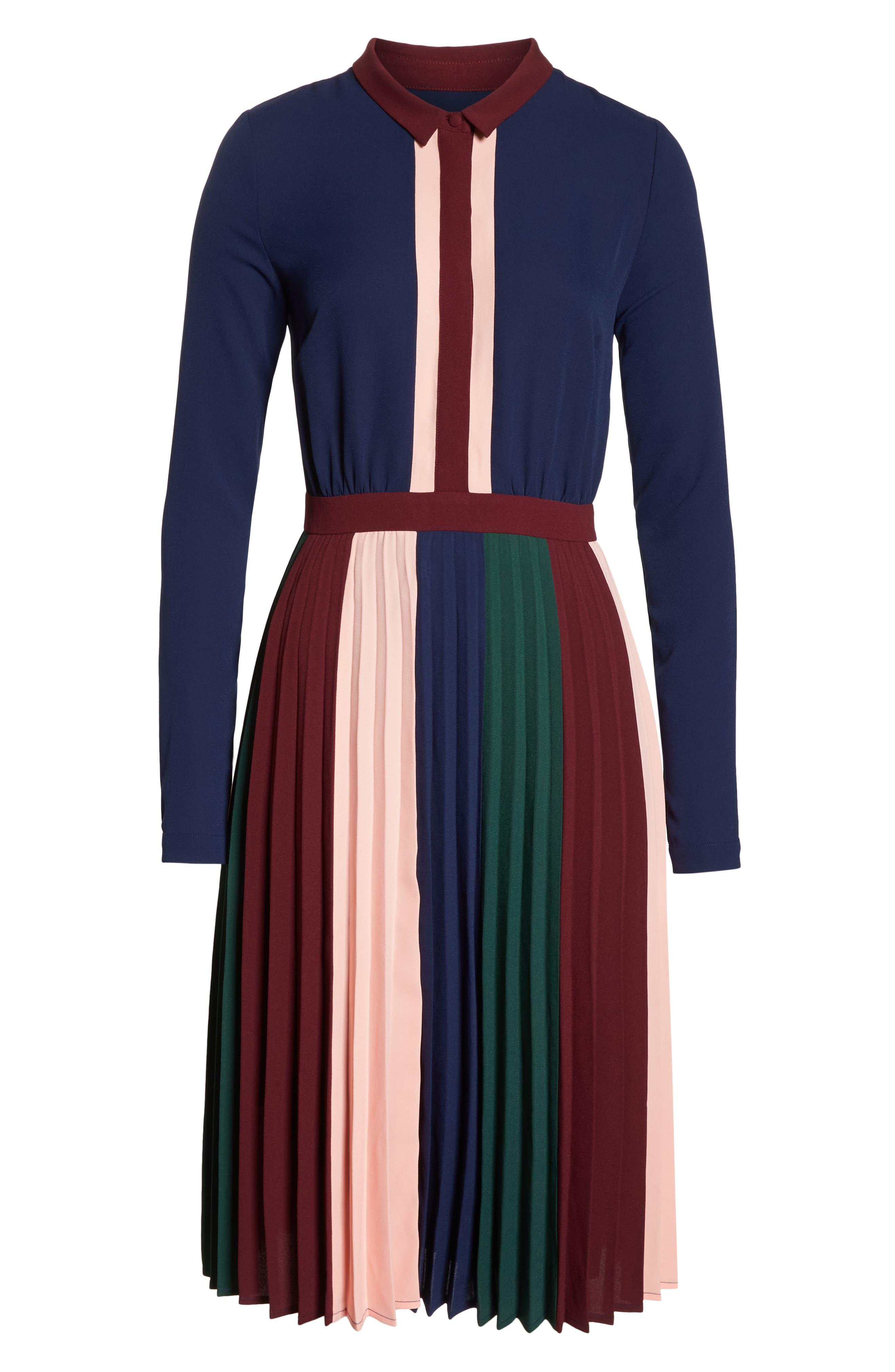 Colorblock Midi Dress,                             Alternate thumbnail 7, color,                             410