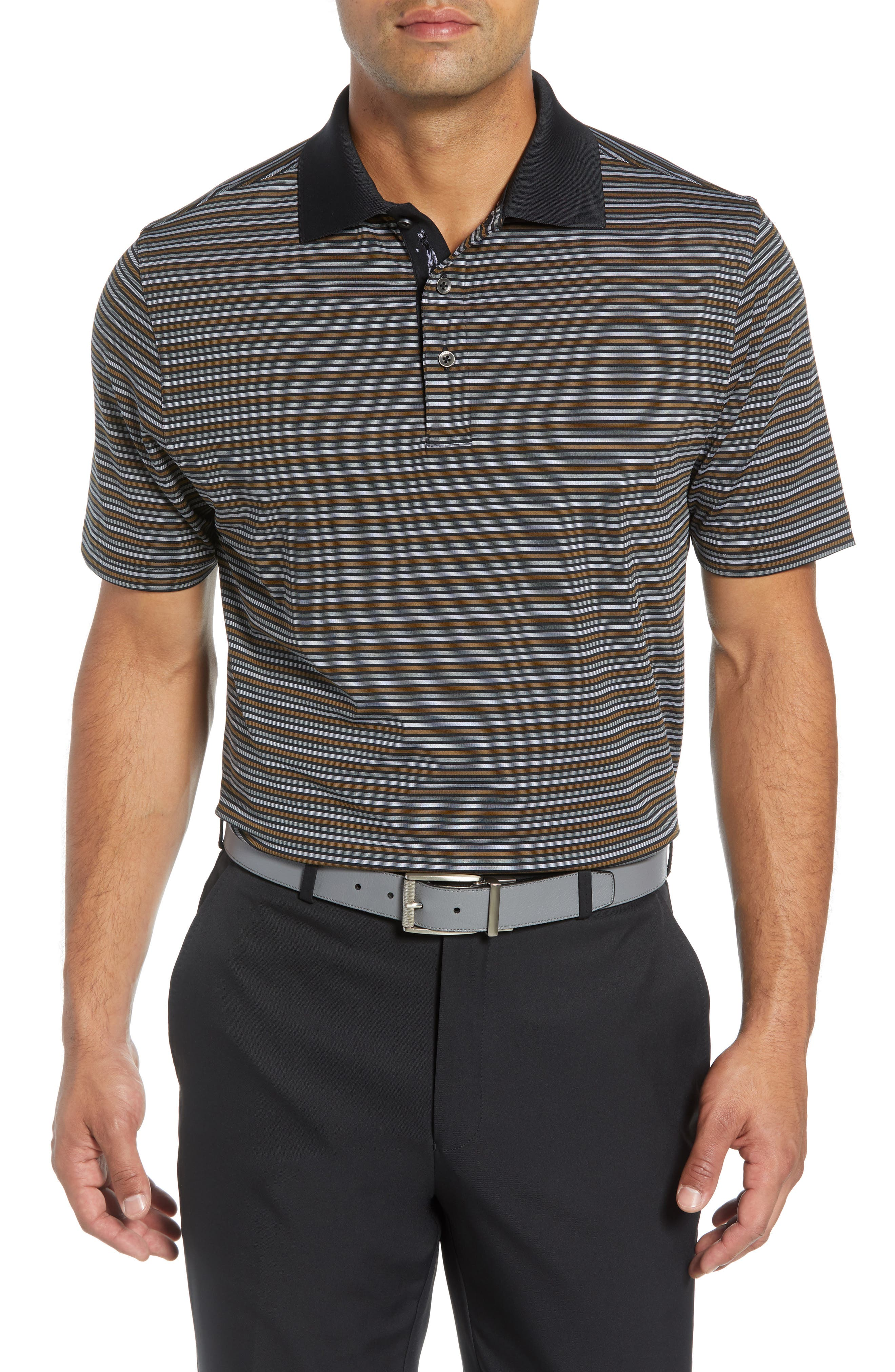 XH2O Copper Stripe Classic Polo,                         Main,                         color, BLACK