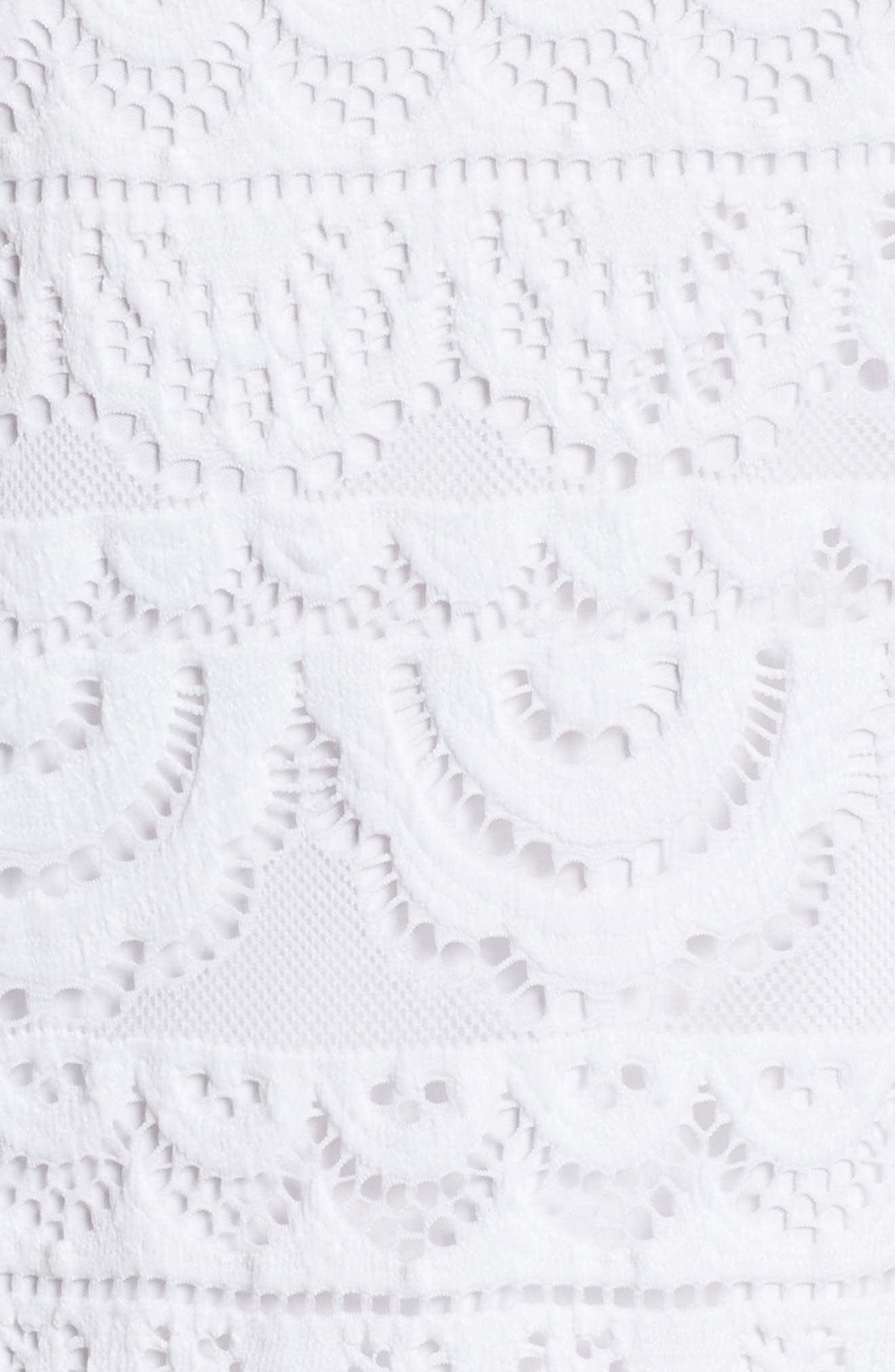 Lyra Cold Shoulder Lace Dress,                             Alternate thumbnail 5, color,                             RESORT WHITE SCALLOP LACE