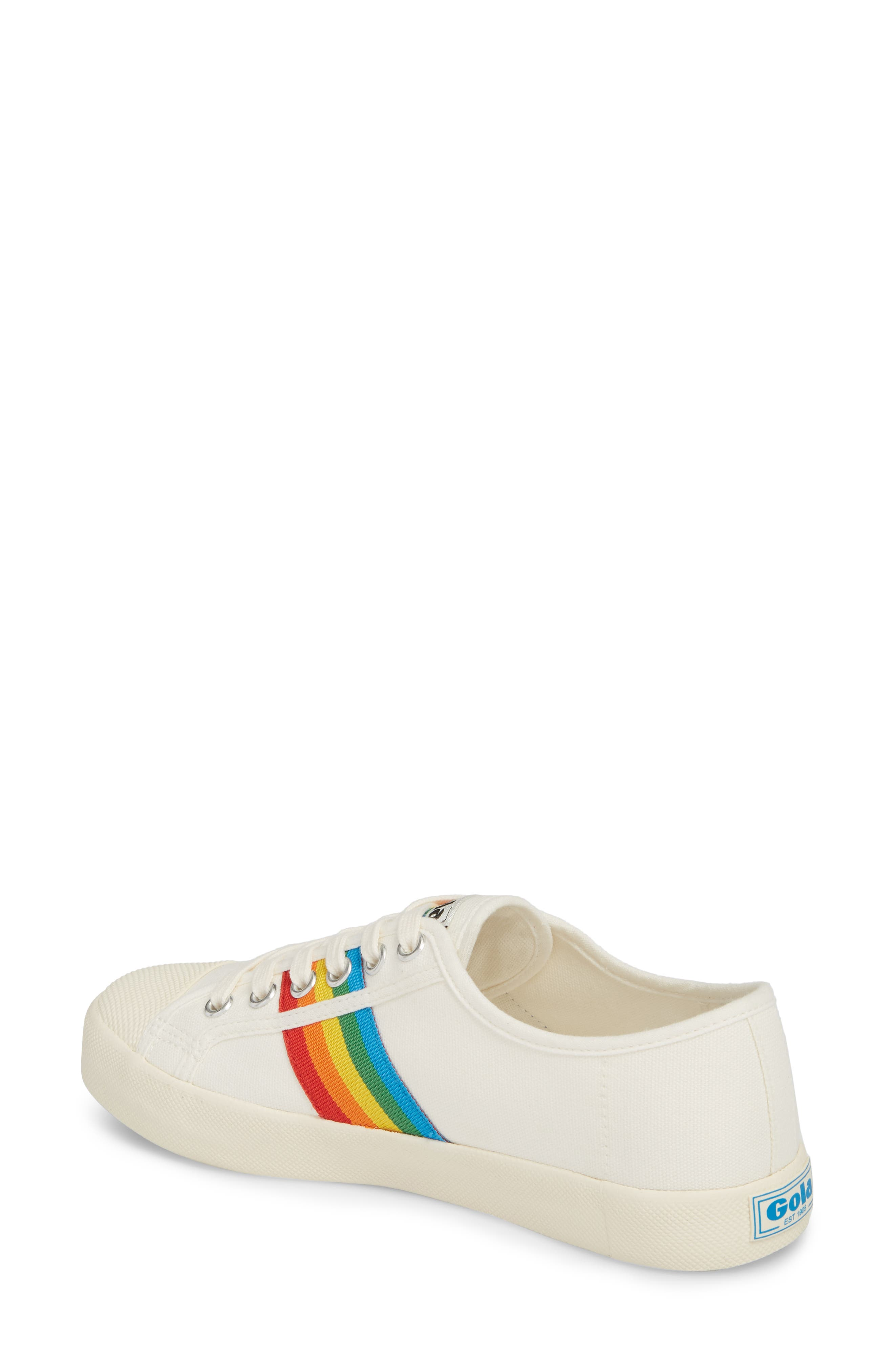 Coaster Rainbow Striped Sneaker,                             Alternate thumbnail 2, color,                             OFF WHITE/ MULTI CANVAS