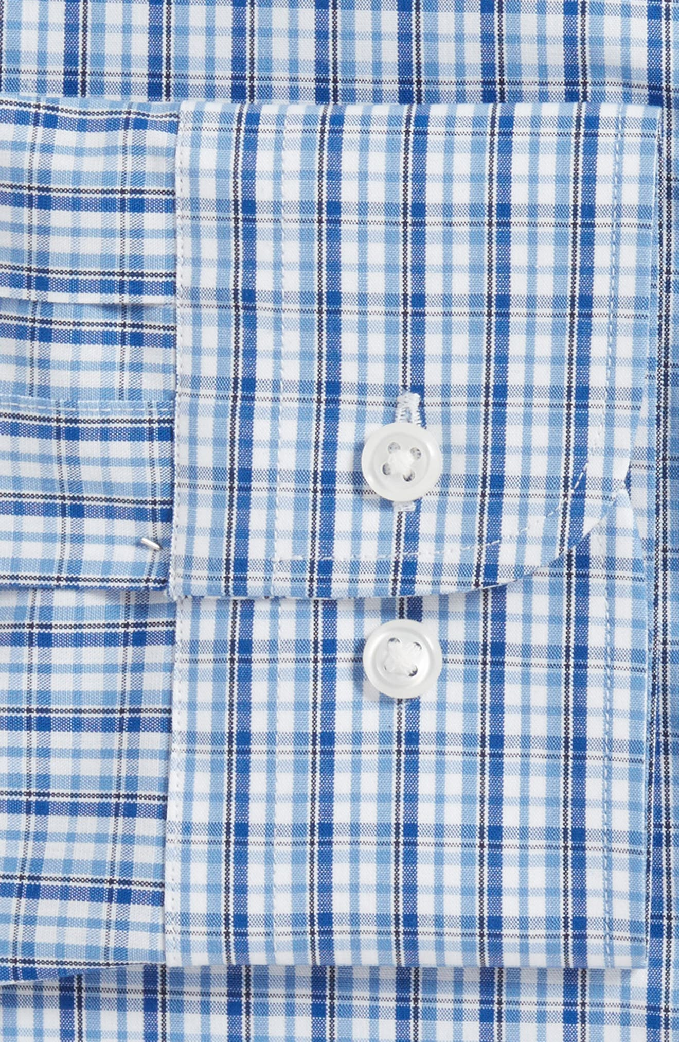 Tech-Smart Trim Fit Stretch Plaid Dress Shirt,                             Alternate thumbnail 4, color,                             401