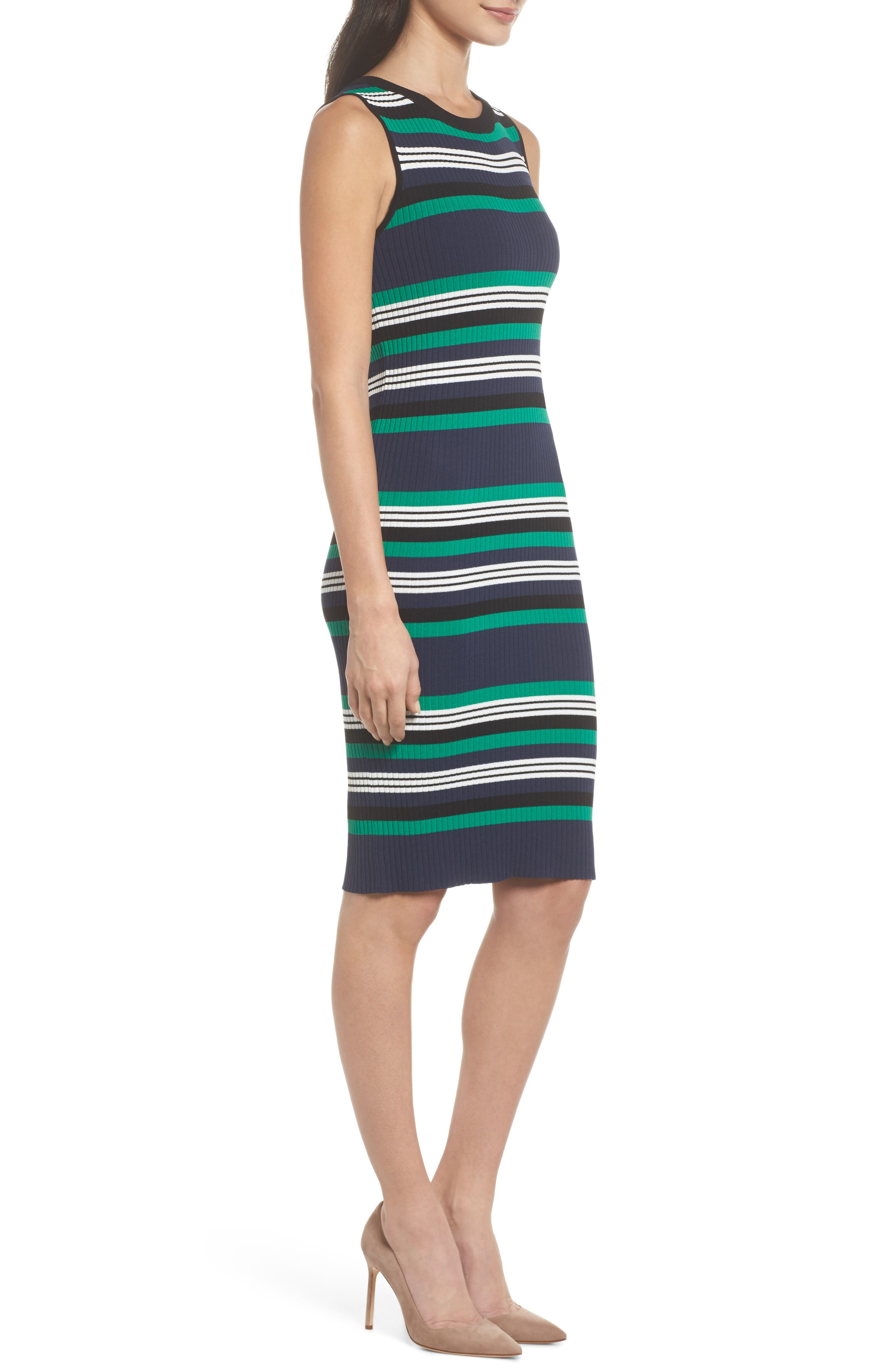 Callie Stripe Body-Con Dress,                             Alternate thumbnail 3, color,                             410