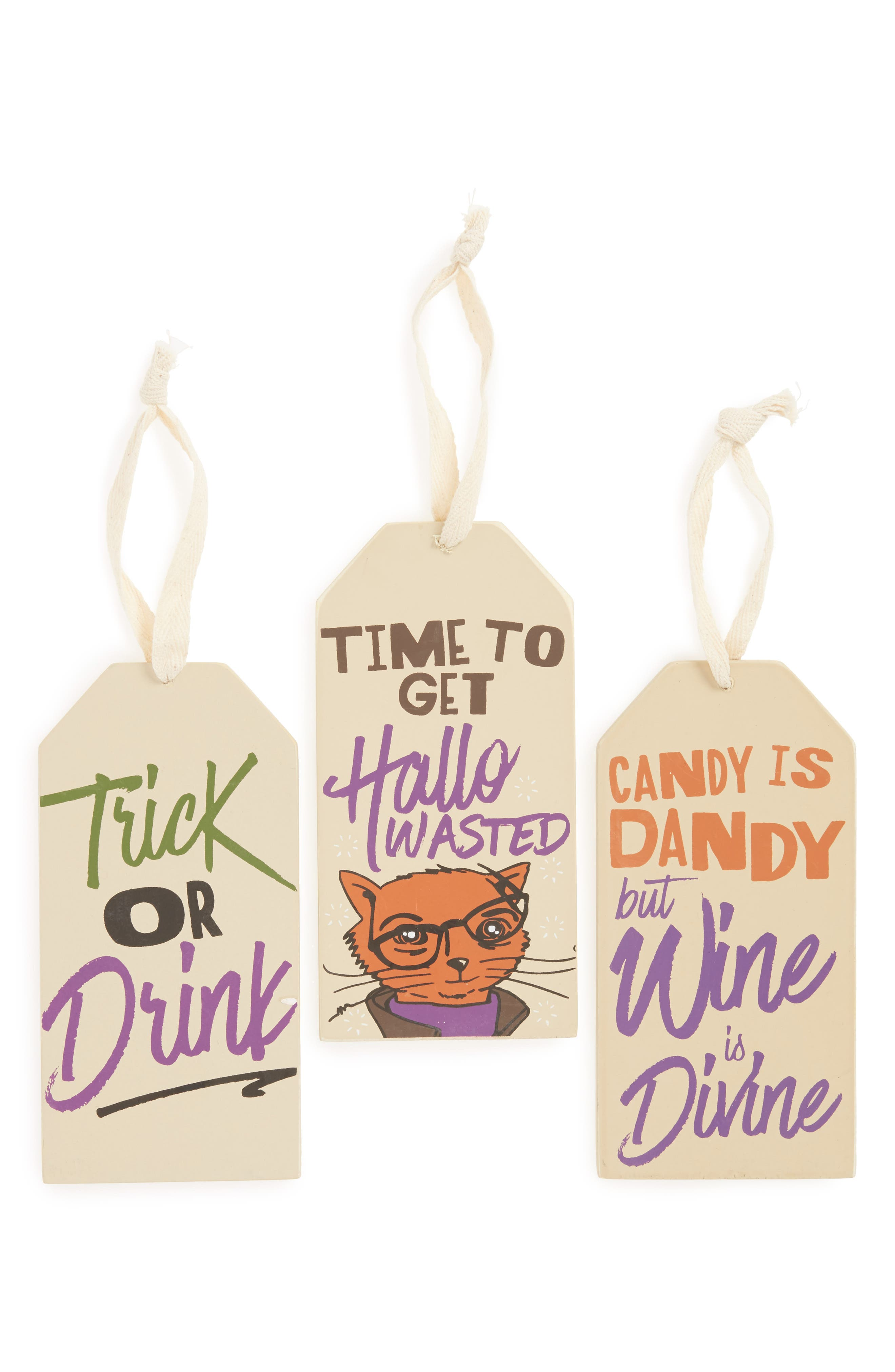 Set of 3 Halloween Wine Bottle Tags,                             Main thumbnail 1, color,                             800