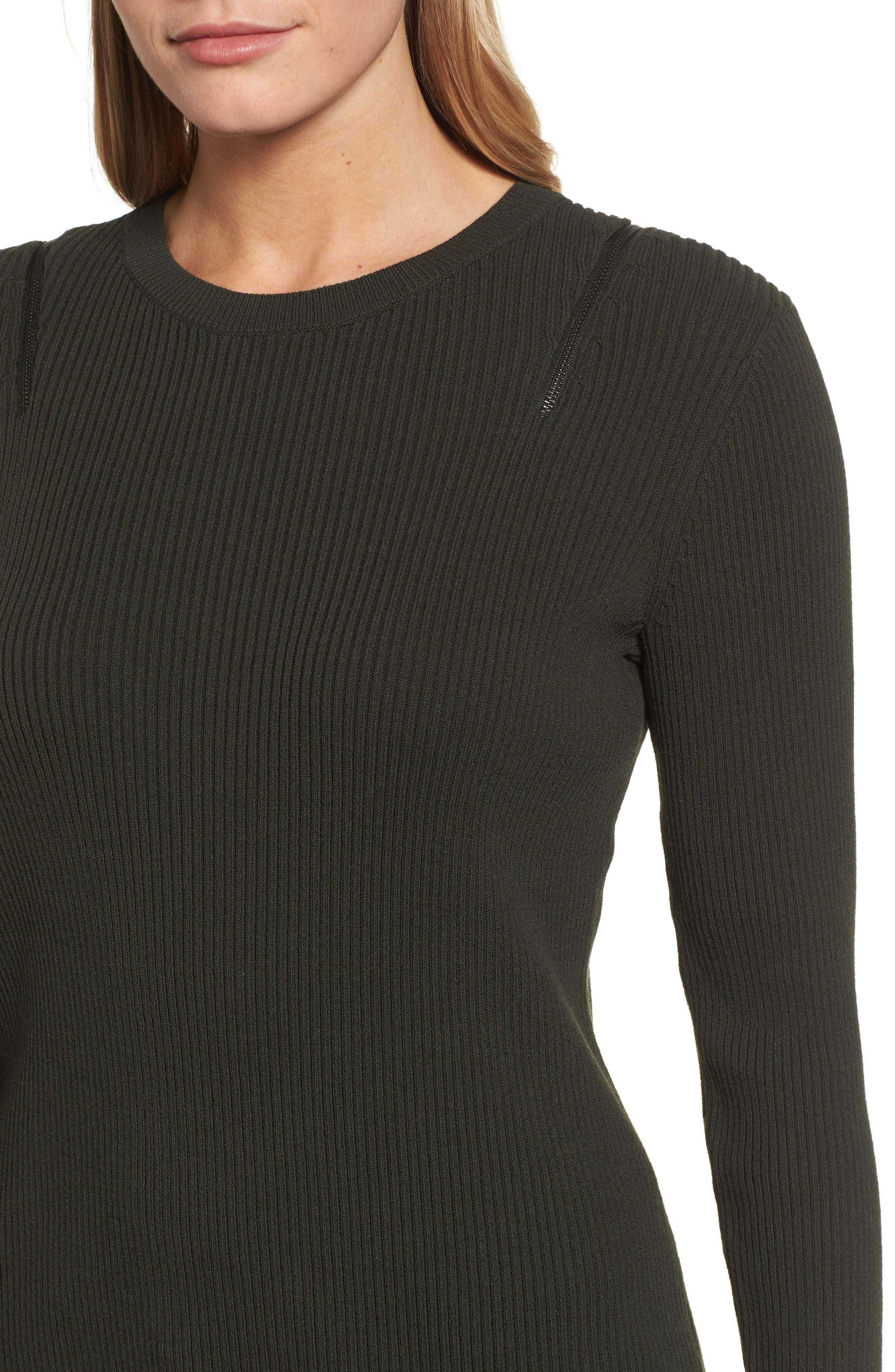 Zip Shoulder Ribbed Sweater,                             Alternate thumbnail 8, color,