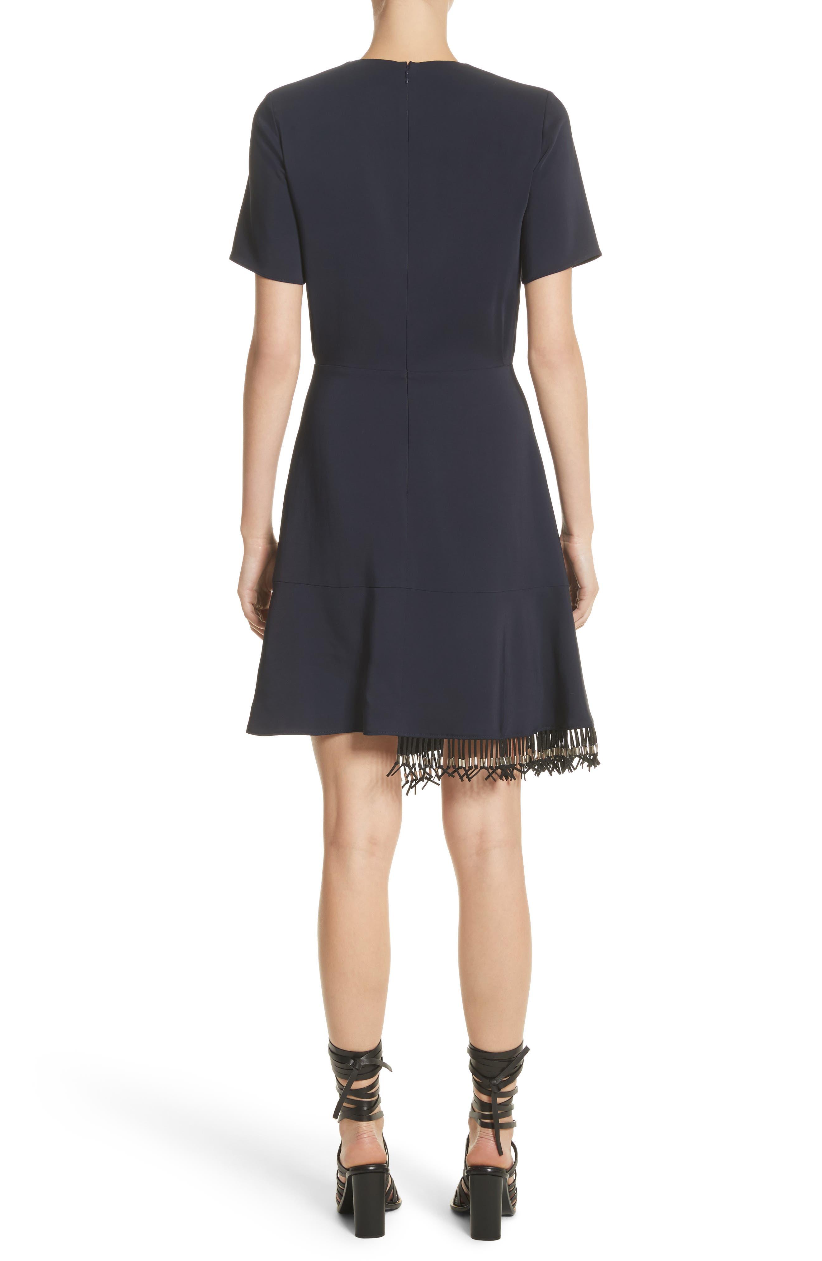 Asymmetrical Fringe Hem Dress,                             Alternate thumbnail 2, color,                             400
