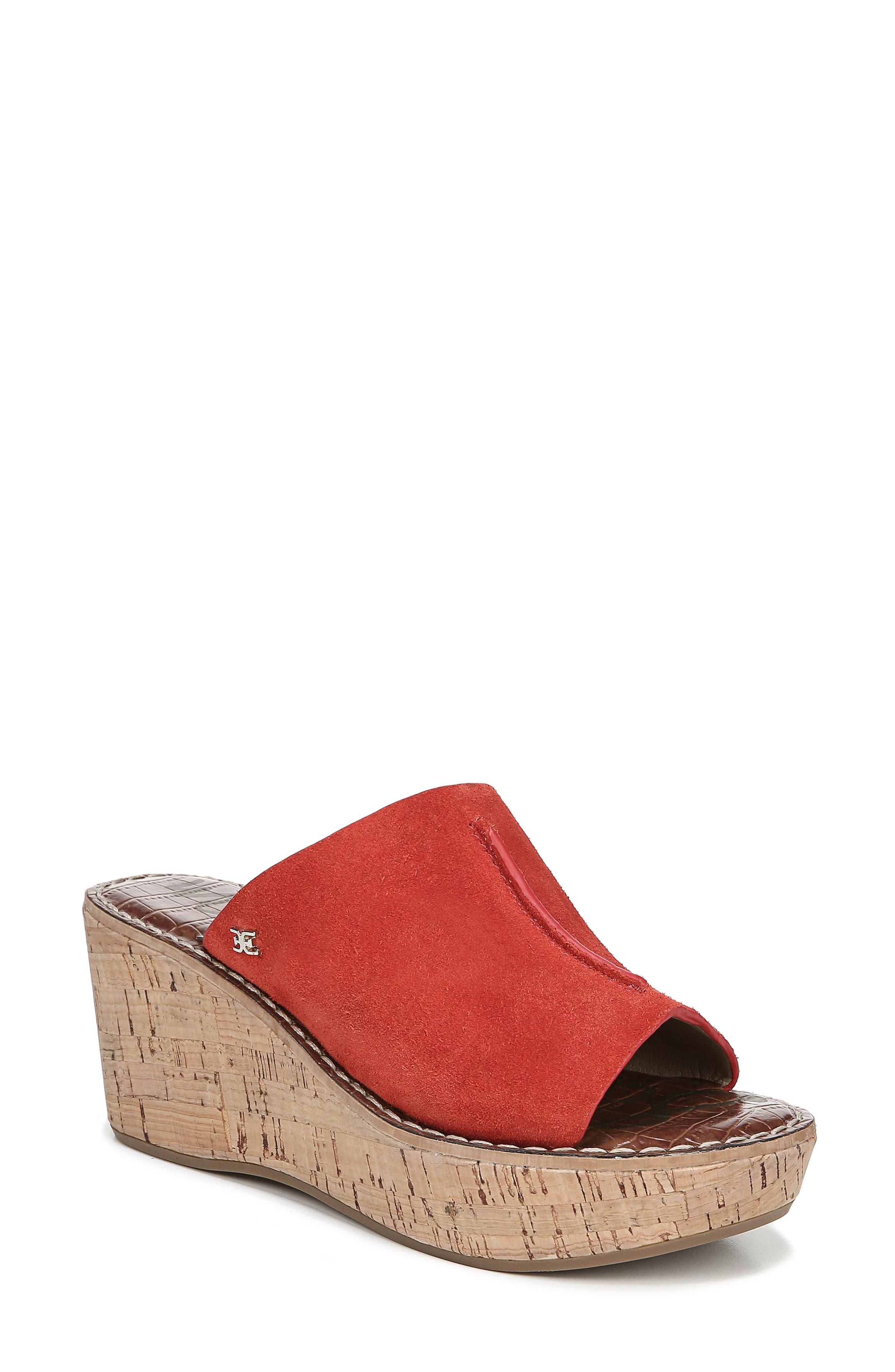 Ranger Platform Sandal,                             Main thumbnail 1, color,                             CANDY RED SUEDE