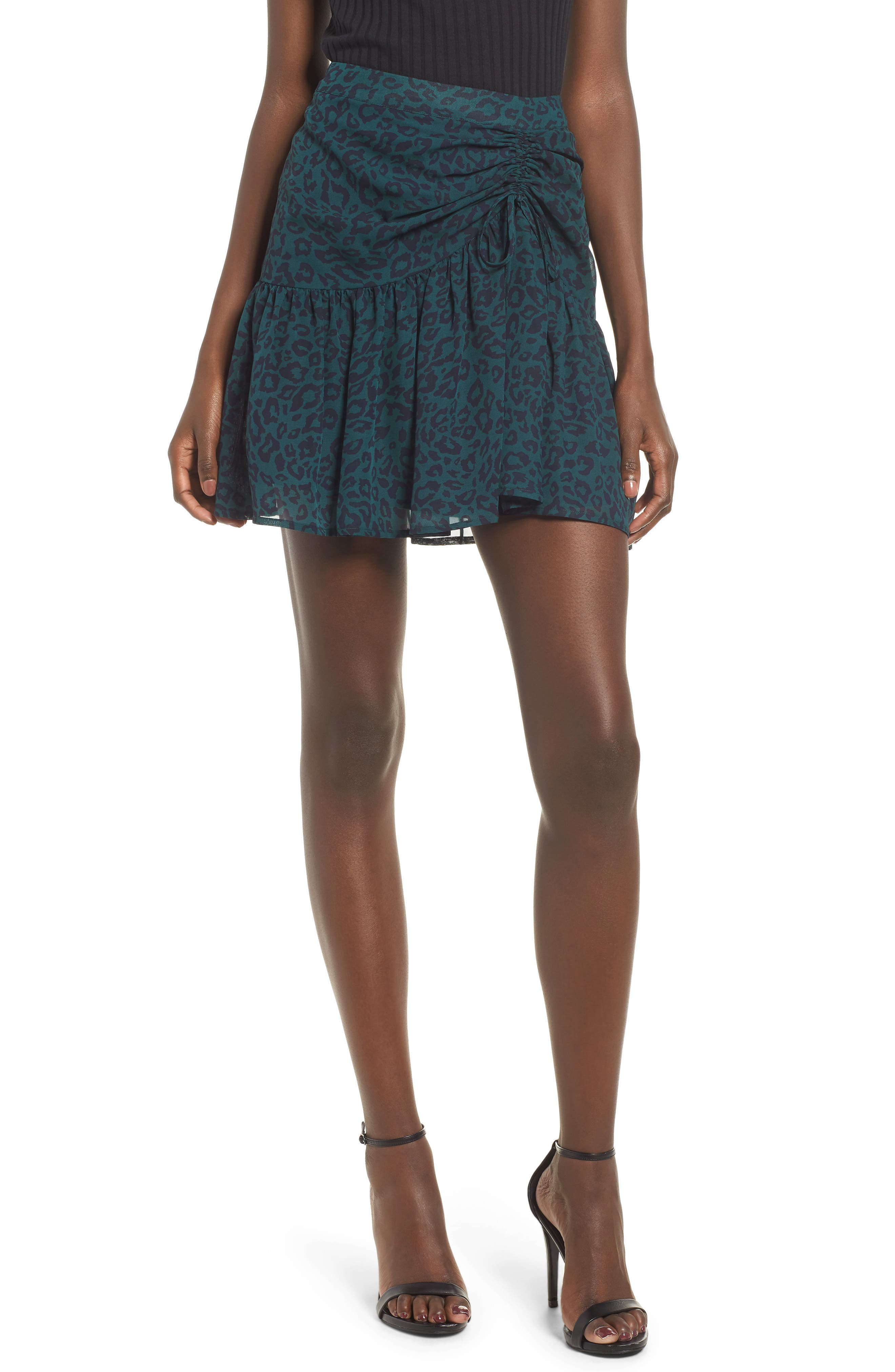 Ruched Ruffle Miniskirt,                             Main thumbnail 1, color,                             300