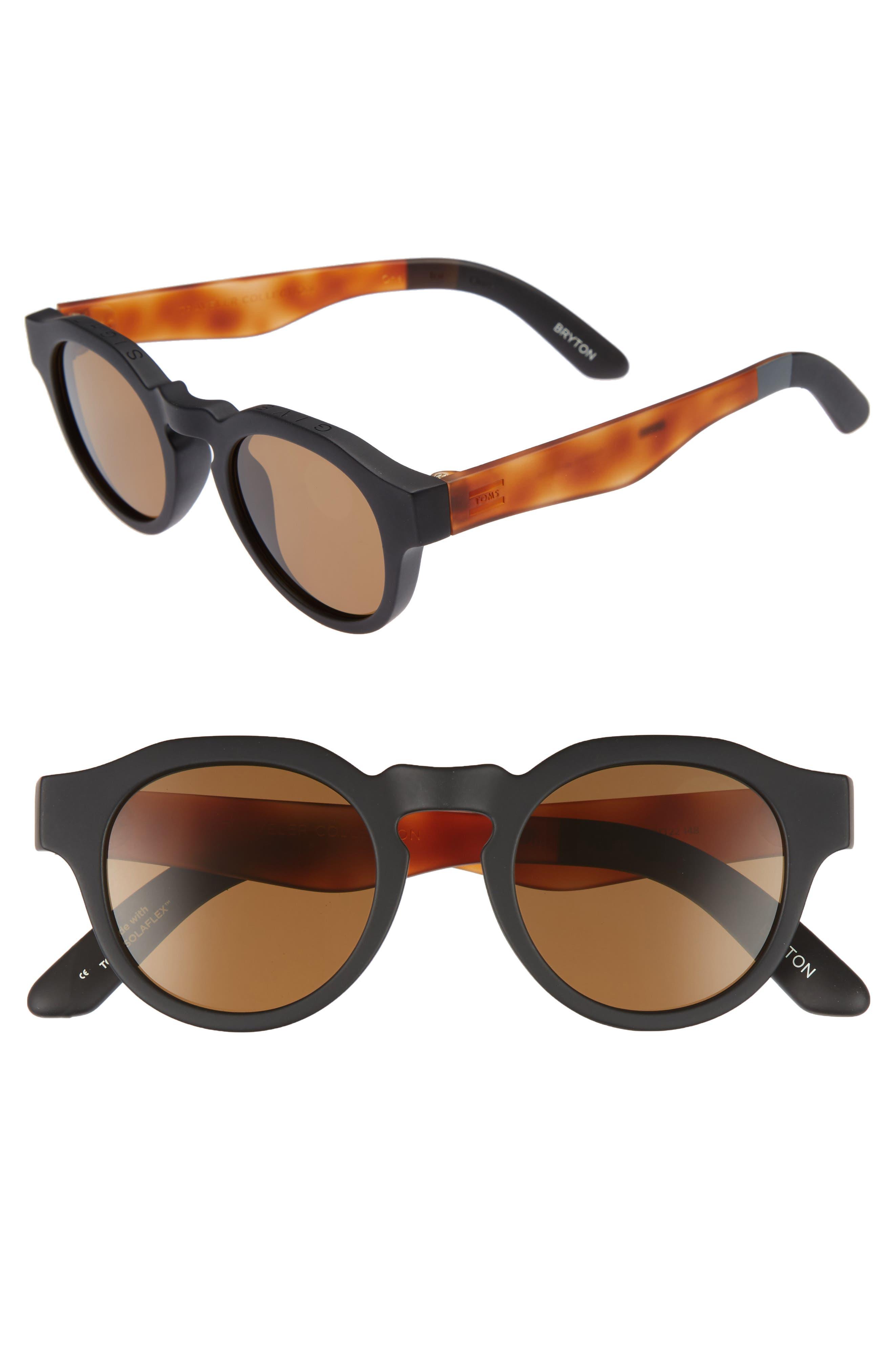 Bryton 48mm Polarized Sunglasses,                             Main thumbnail 1, color,                             MATTE BLACK POLAR