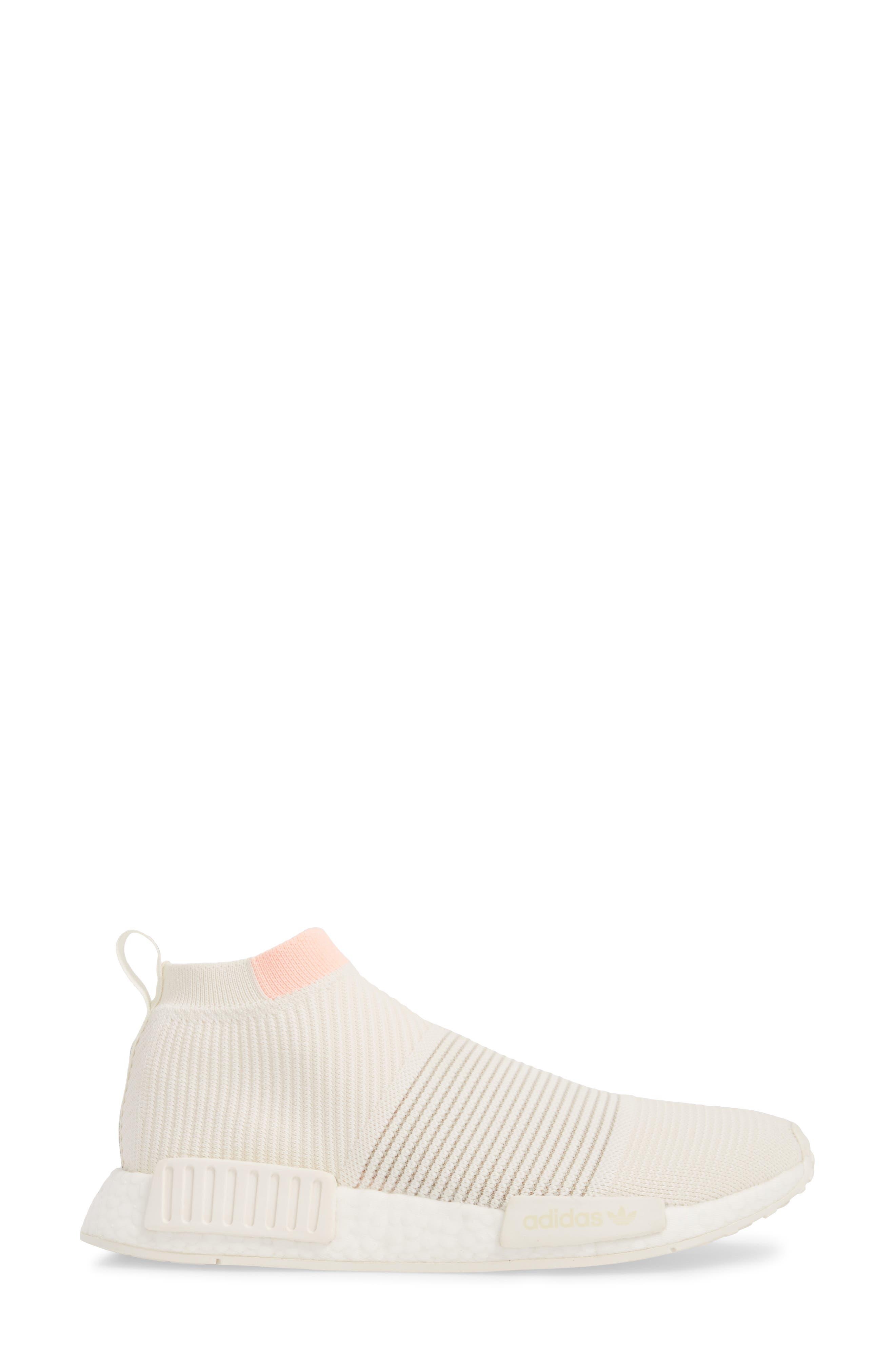 NMD_CS1 Primeknit Sneaker,                             Alternate thumbnail 3, color,                             CLOUD WHITE/ CLEAR ORANGE
